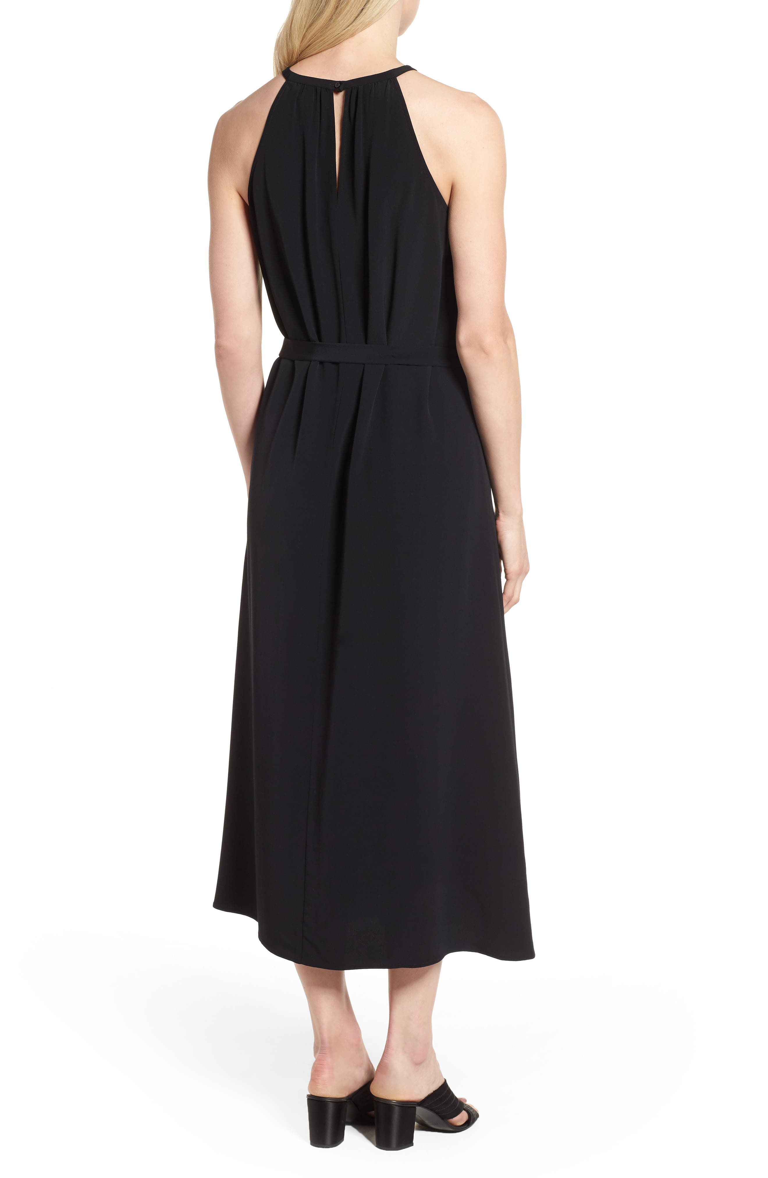 Tencel<sup>®</sup> Lyocell Blend Midi Dress,                             Alternate thumbnail 2, color,                             Black