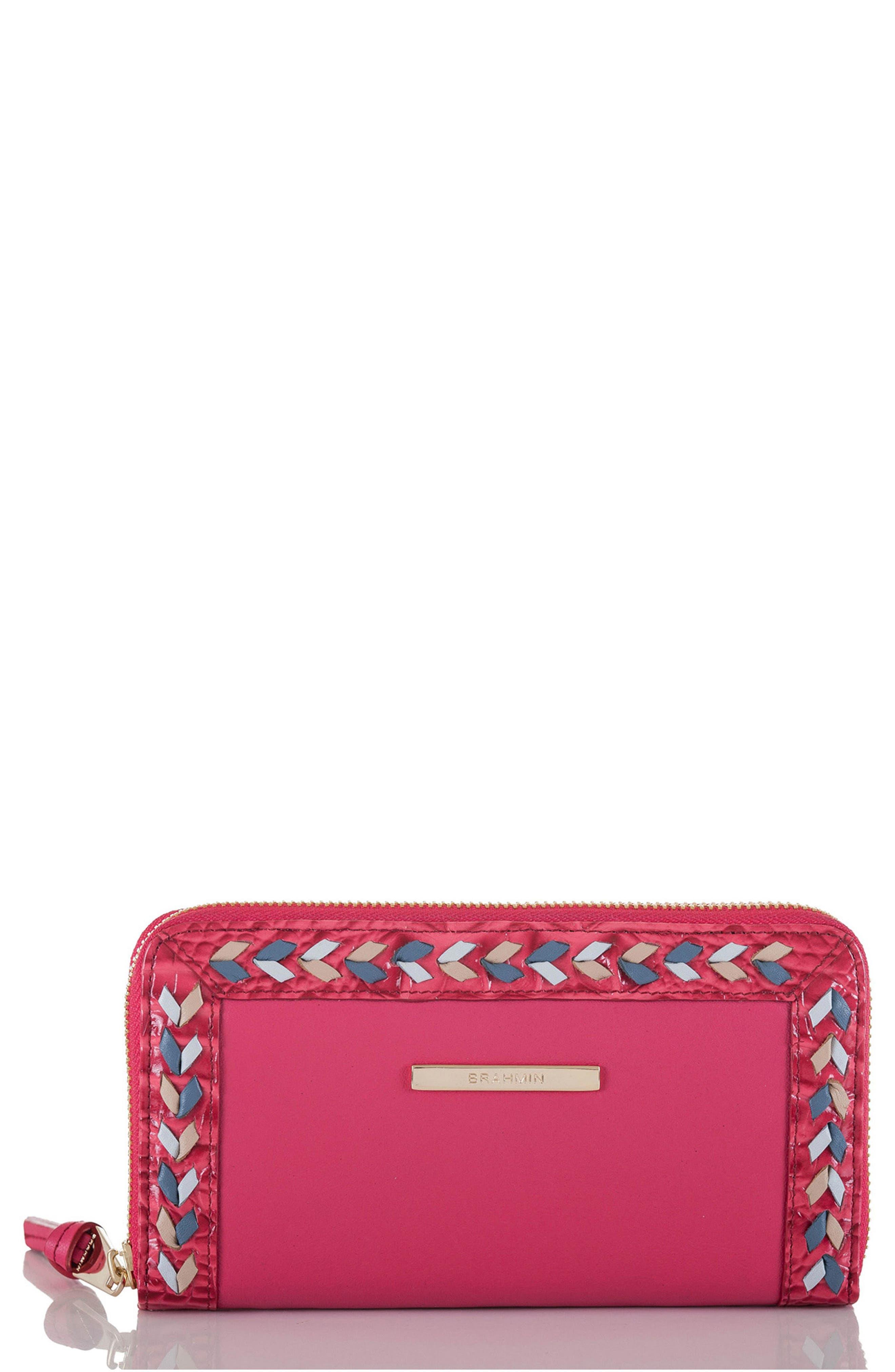 Suri Leather Zip Around Wallet,                         Main,                         color, Ribbon