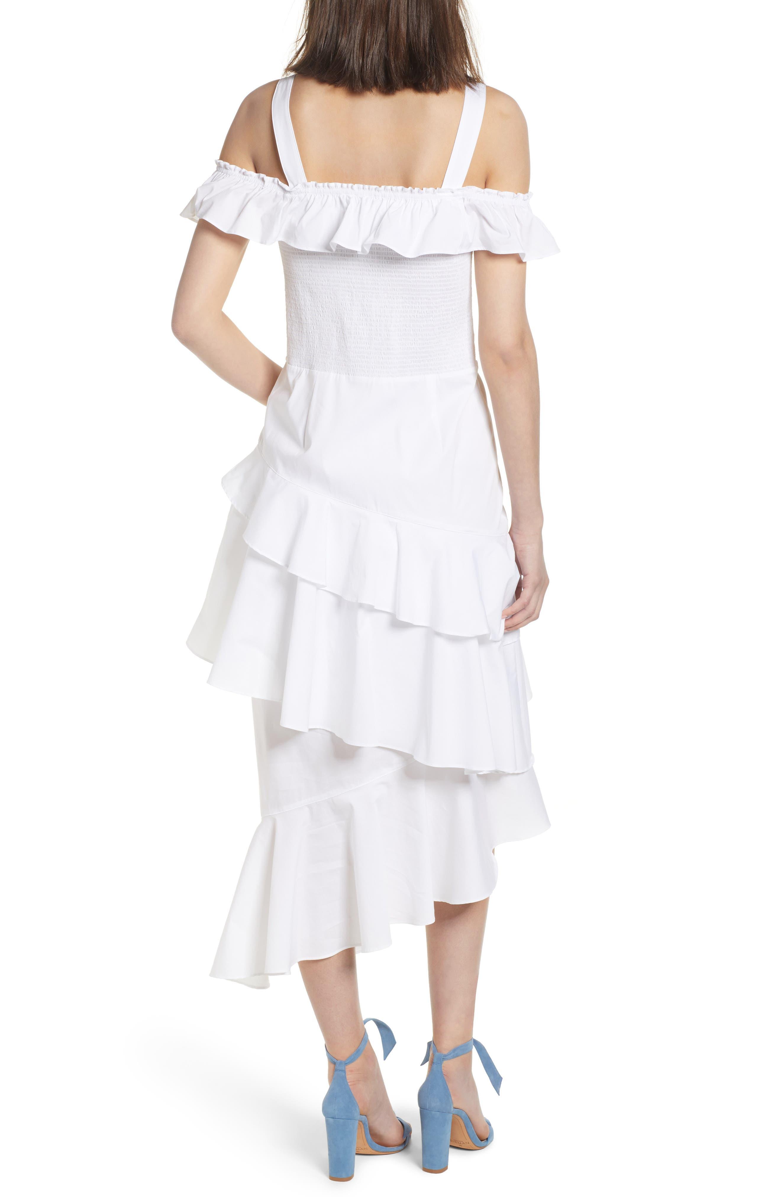 Ruffle Smocked Cold Shoulder Dress,                             Alternate thumbnail 2, color,                             White