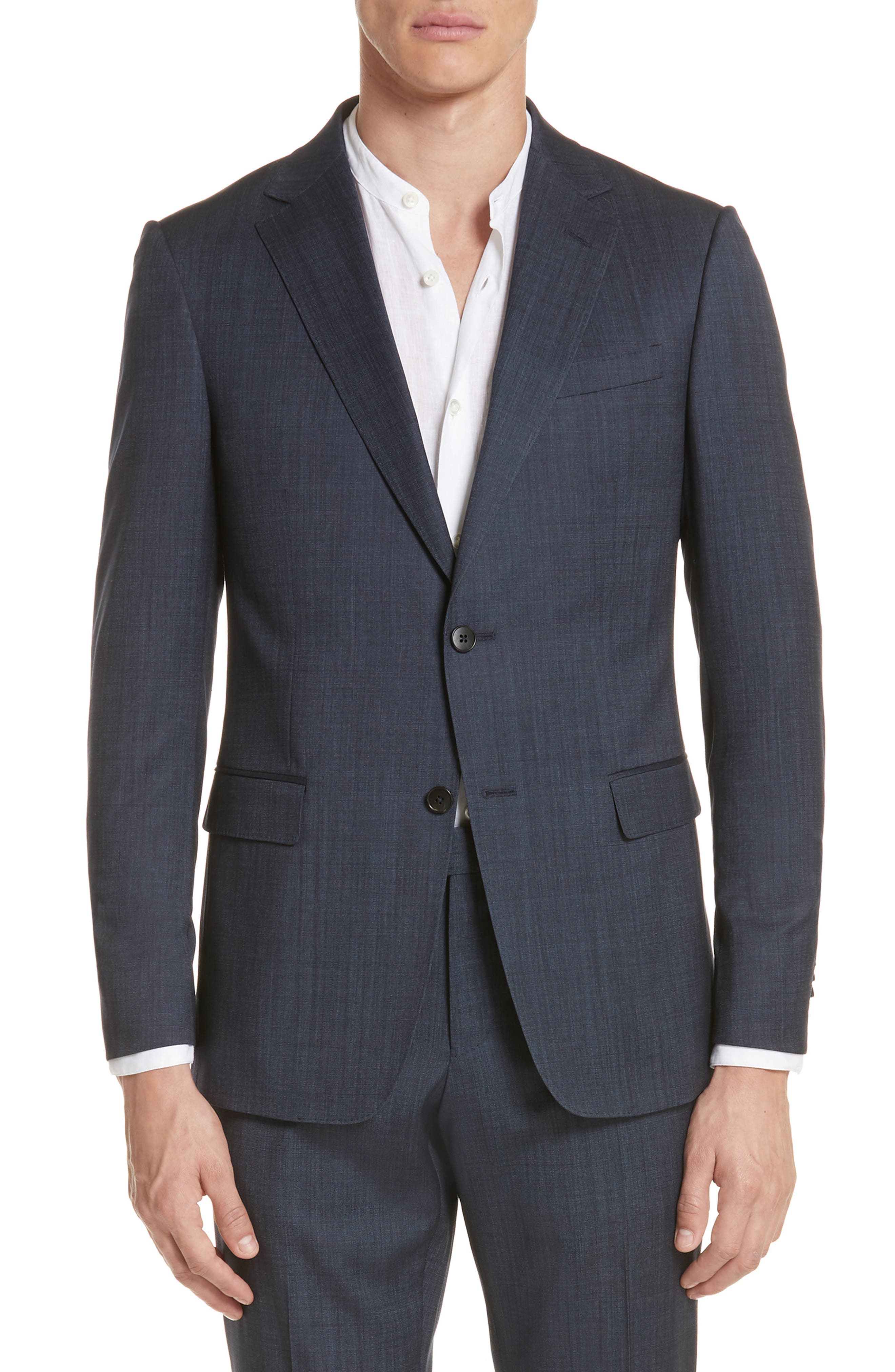 Trim Fit Solid Wool & Silk Suit,                             Alternate thumbnail 5, color,                             Navy
