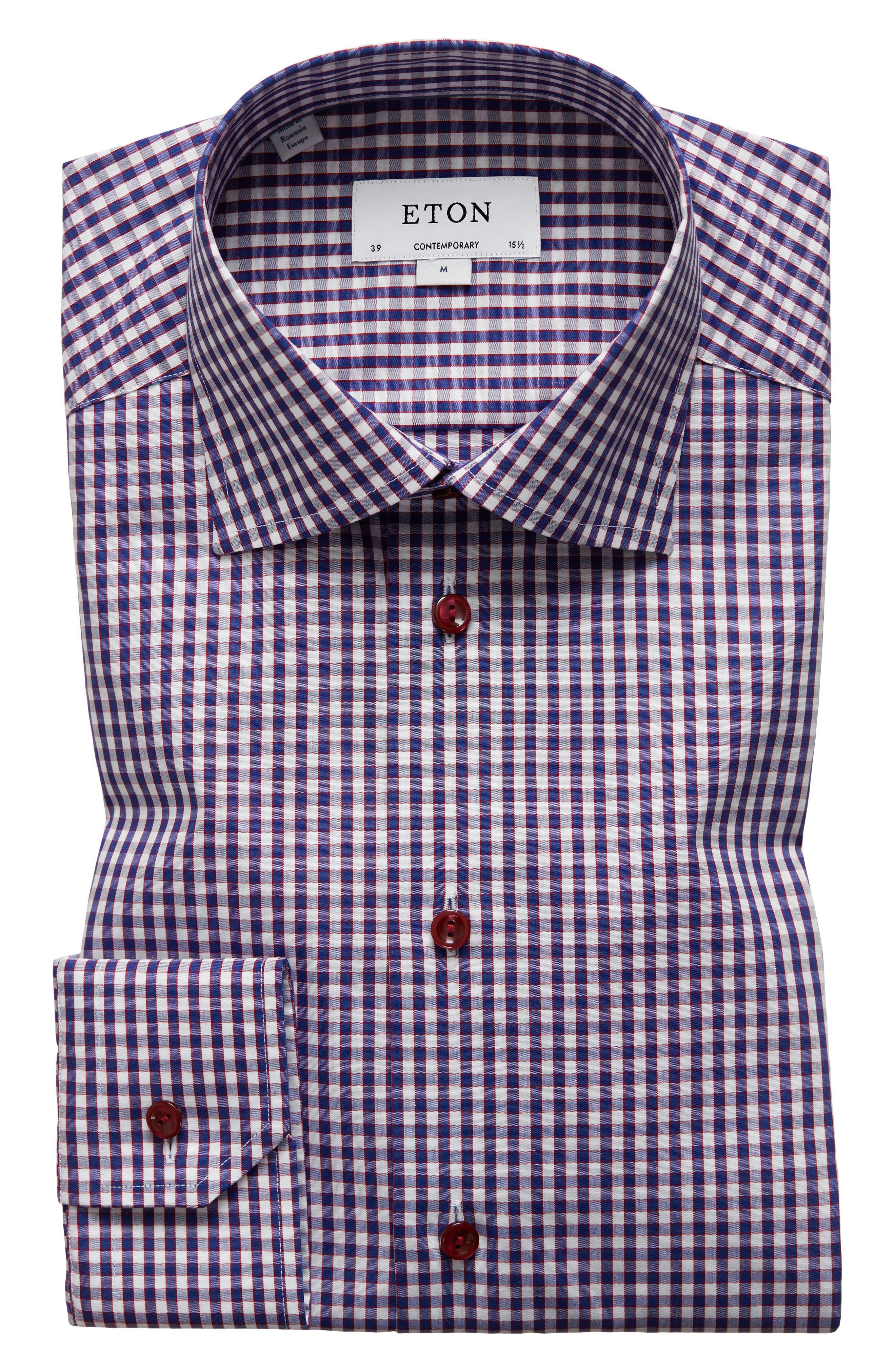 Contemporary Fit Check Dress Shirt,                         Main,                         color, Navy