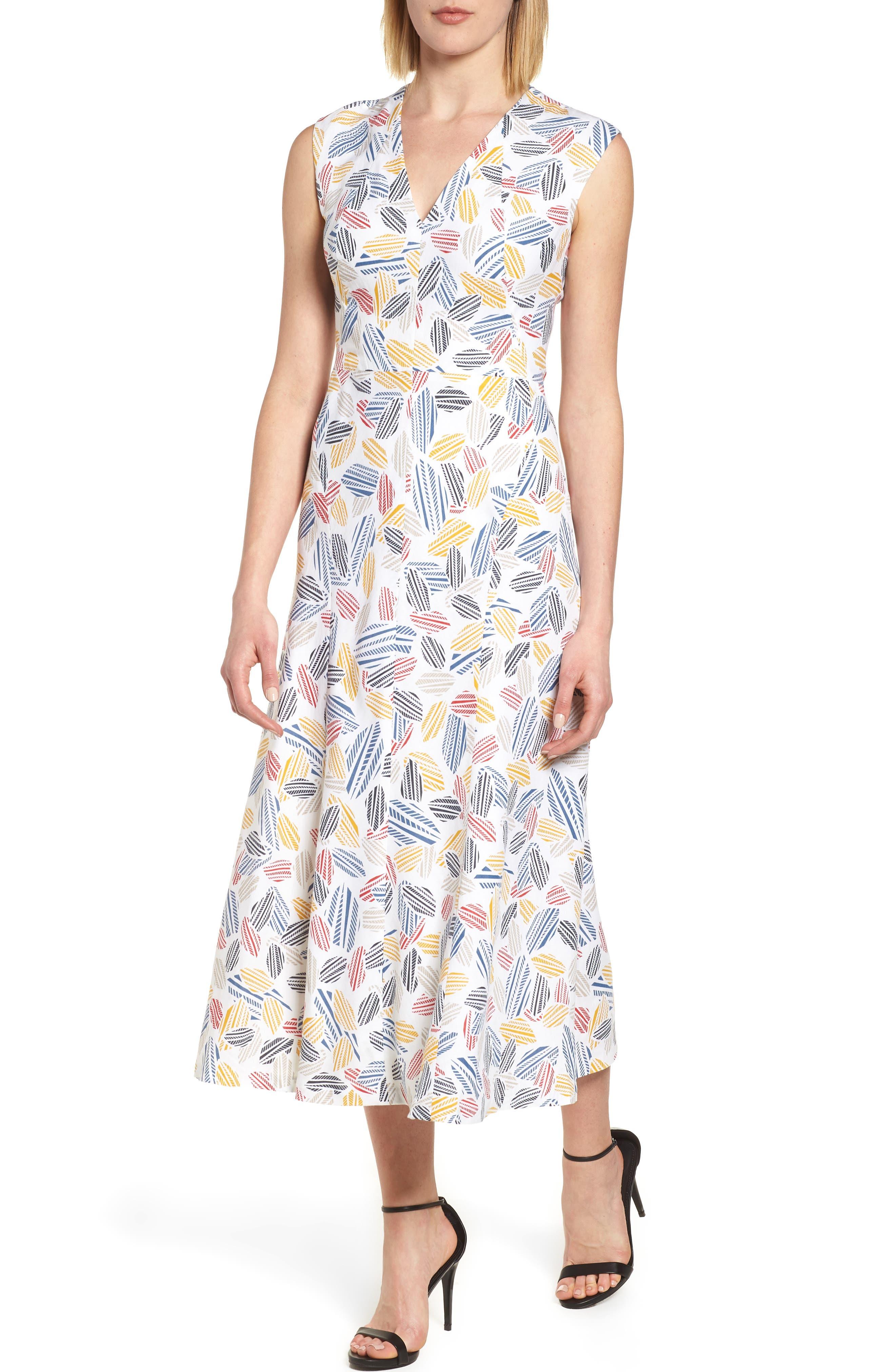 Print Midi Dress,                             Main thumbnail 1, color,                             Optic White/ Tomato Combo