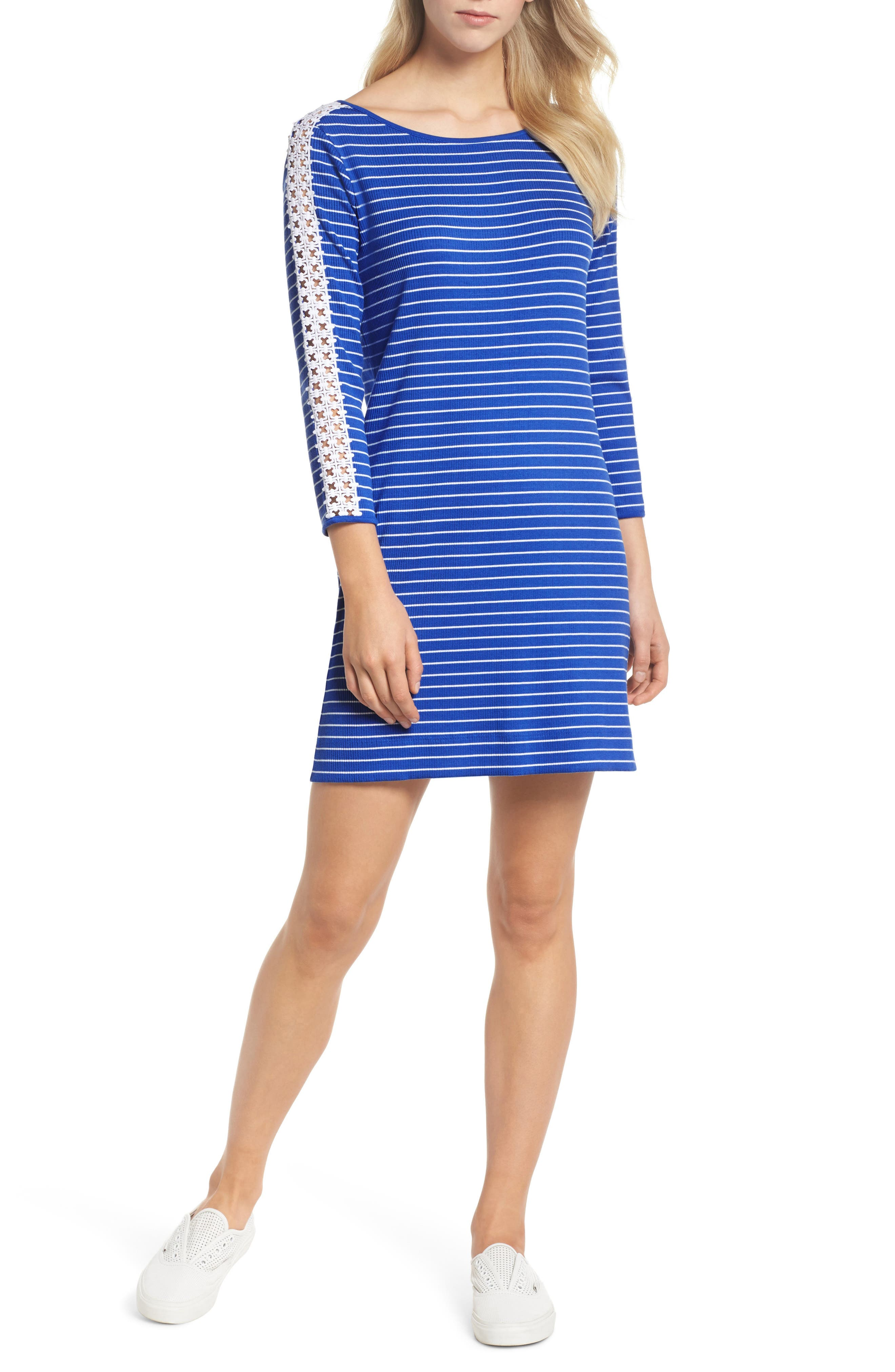 Marlowe Shift Dress,                         Main,                         color, Beckon Blue Breeze Stripe
