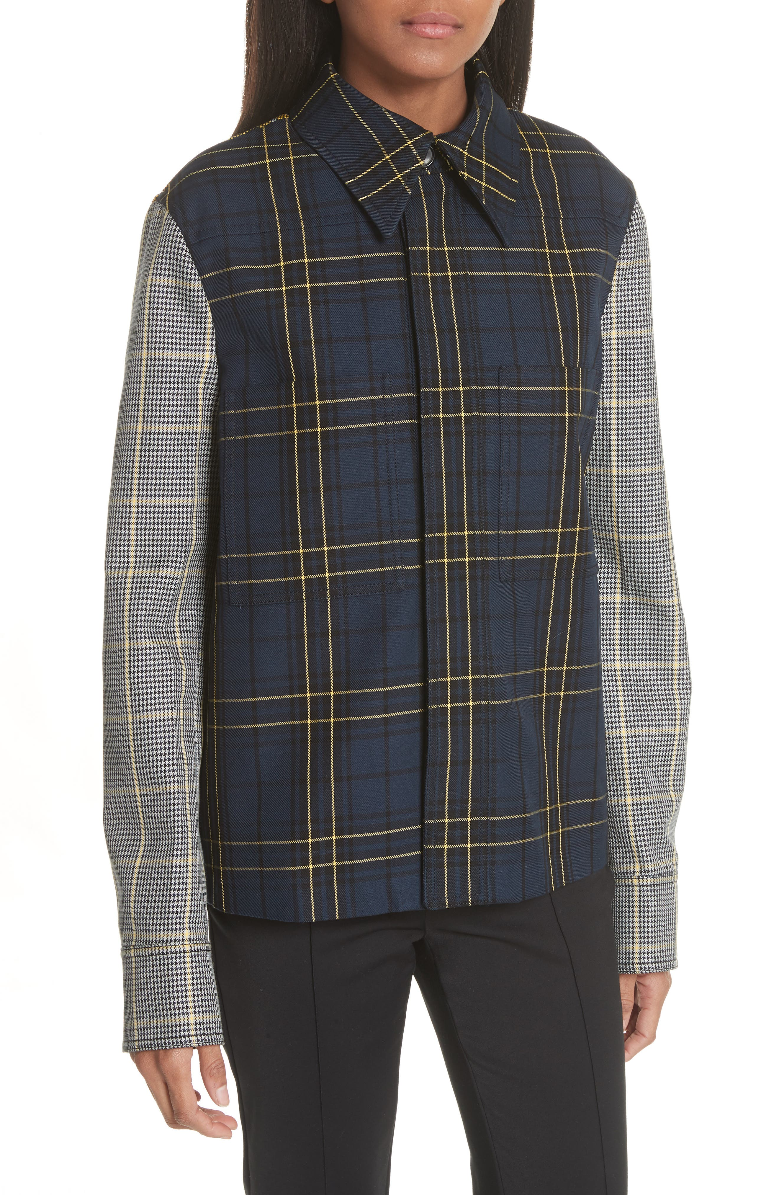 Coen Check Patchwork Jacket,                         Main,                         color, Blue Combo