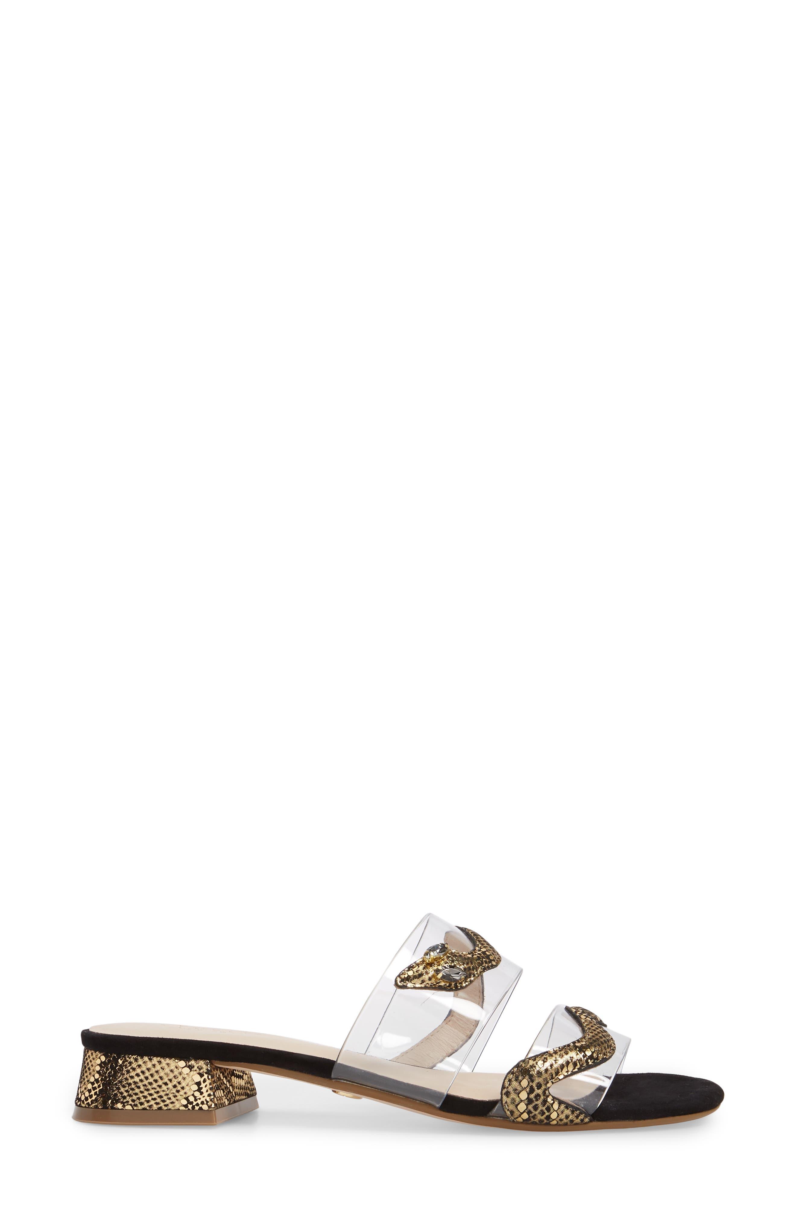 Danica Slide,                             Alternate thumbnail 3, color,                             Gold Print Fabric