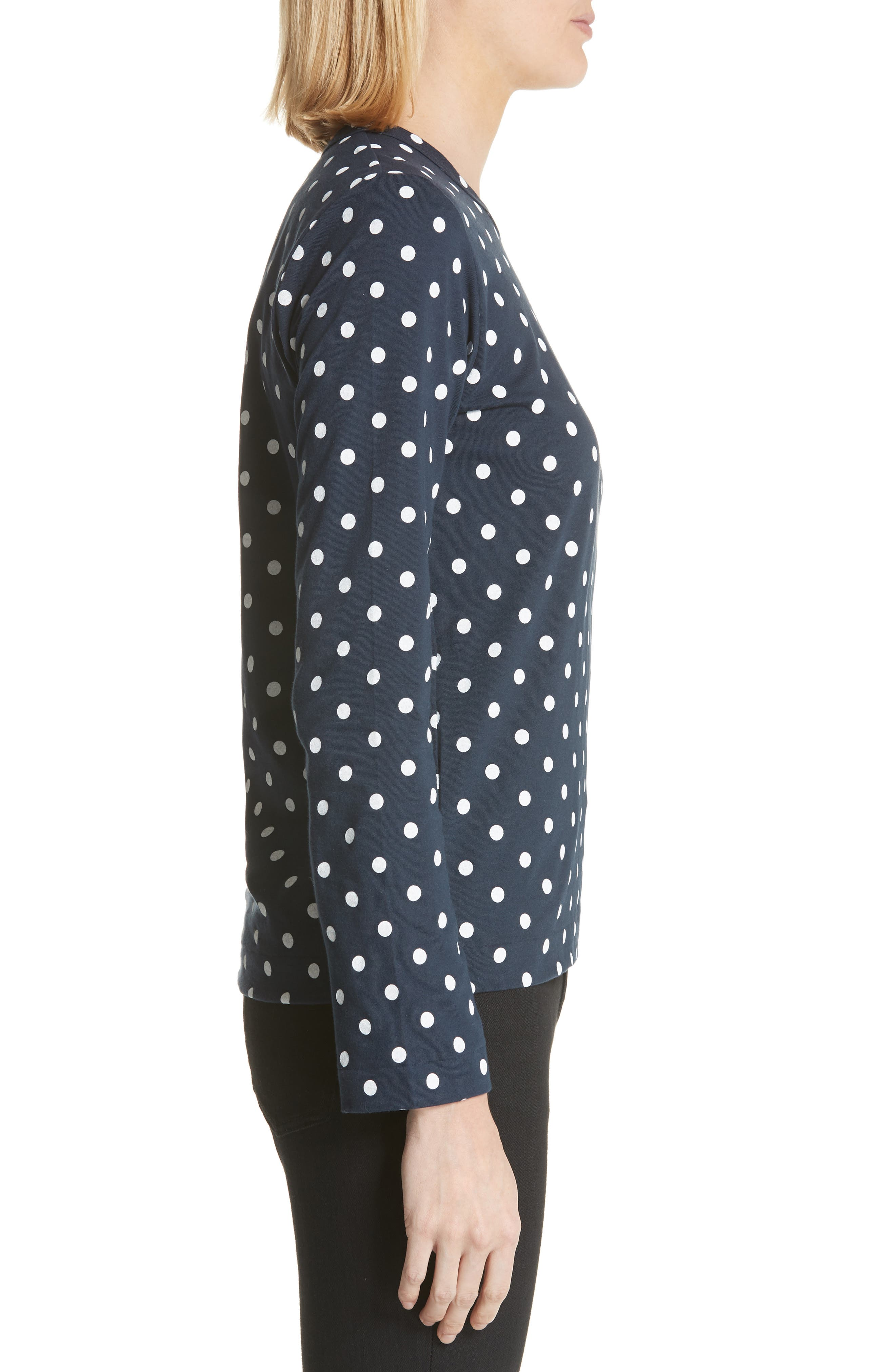 Comme des Garçons PLAY Red Heart Polka Dot Tee,                             Alternate thumbnail 3, color,                             Navy/ White