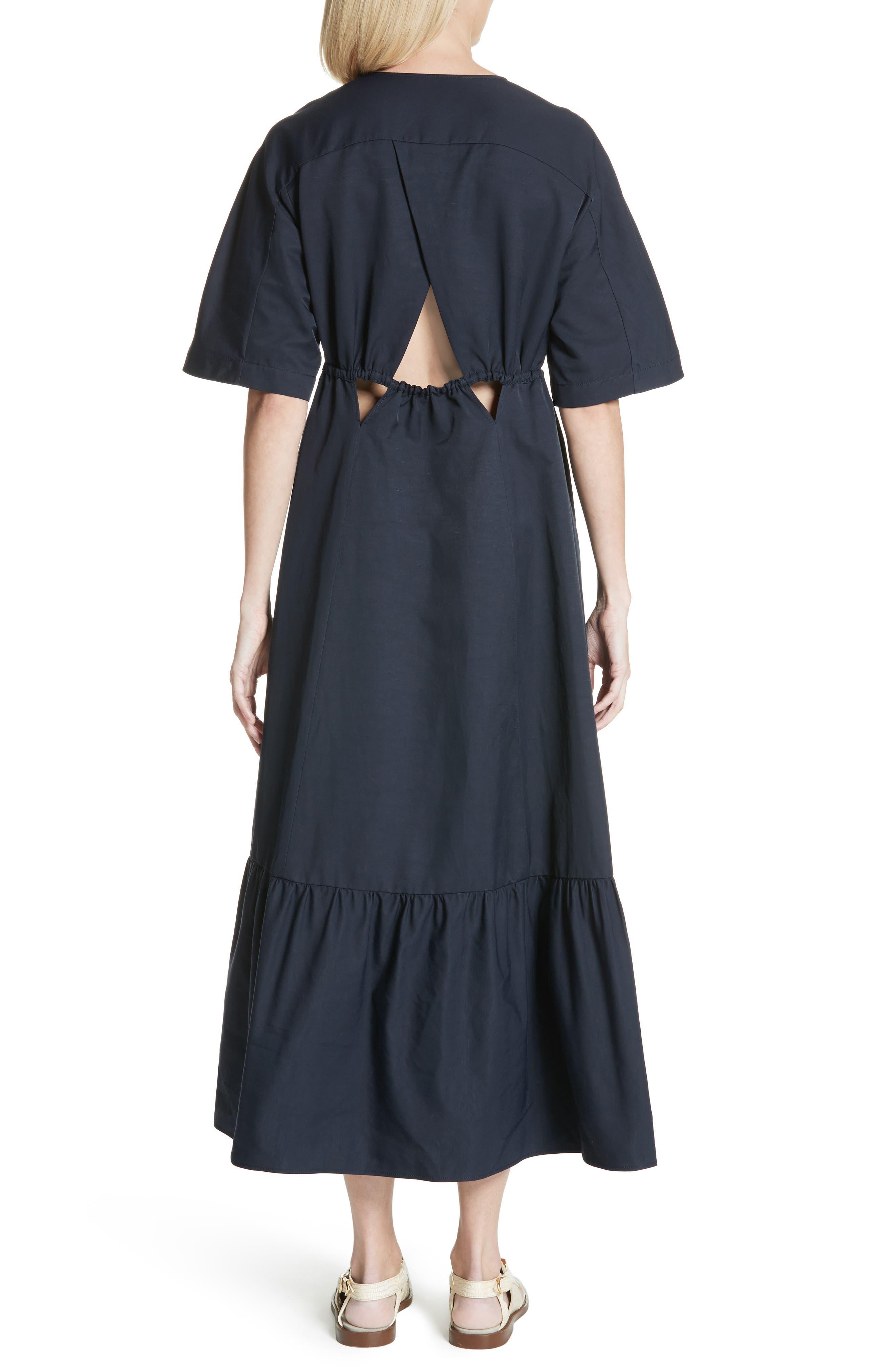 Plunging Cutout Maxi Dress,                             Alternate thumbnail 2, color,                             Ink