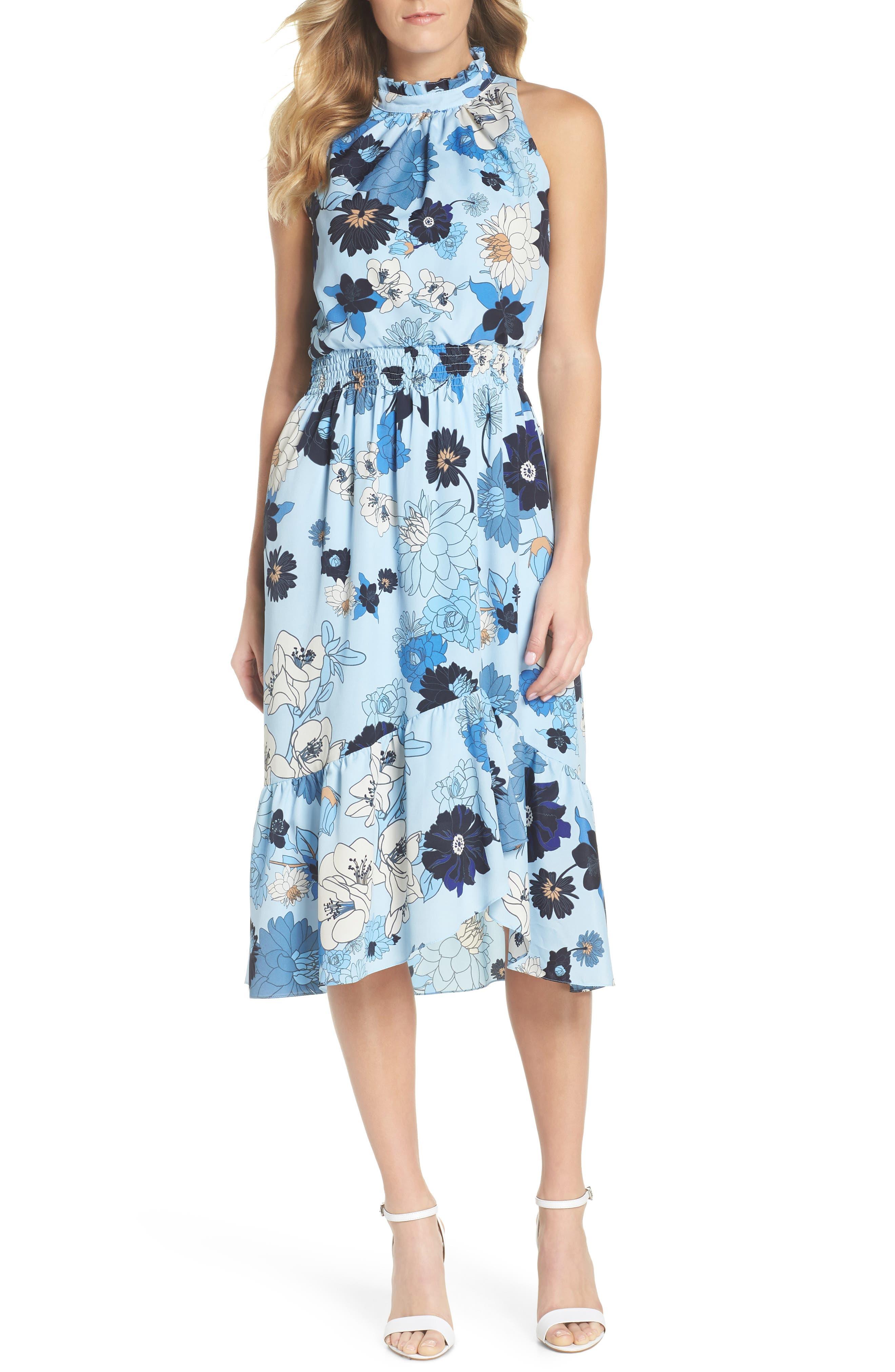 Floral Blouson Midi Dress,                         Main,                         color, Light Blue