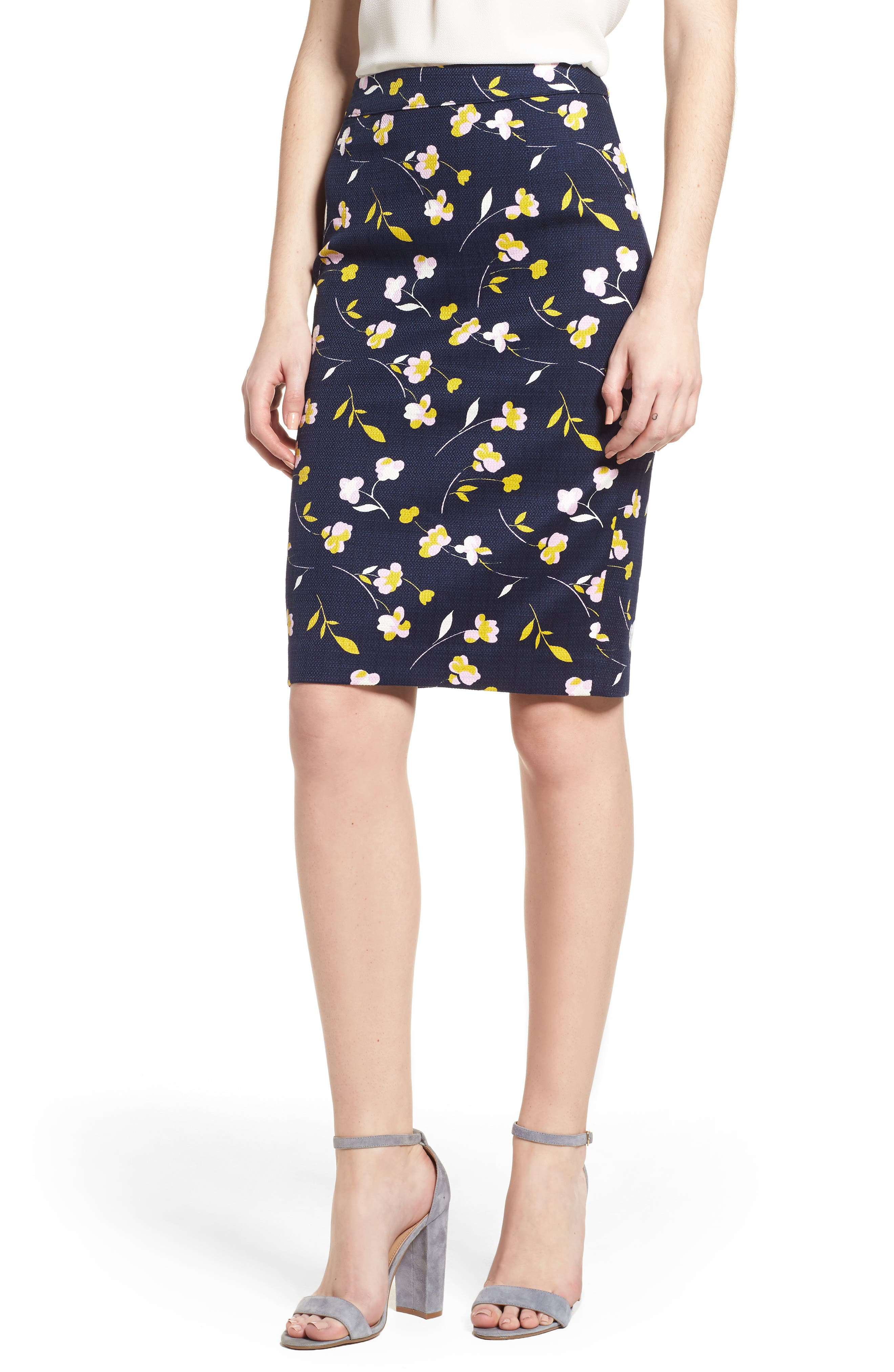 Martha Floral Pencil Skirt,                         Main,                         color, Rosebay/ Wildflower