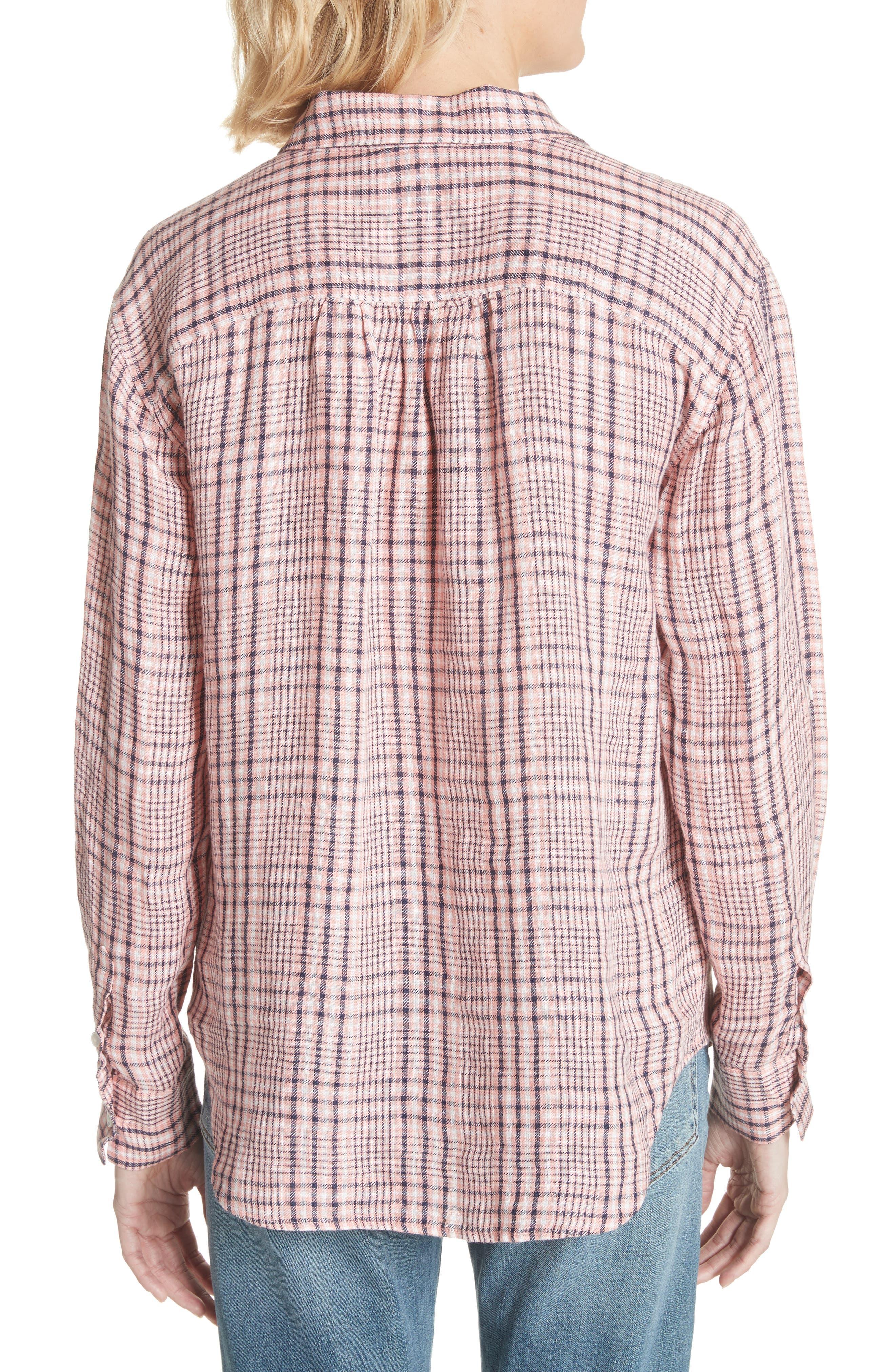 Lidelle Plaid Linen Shirt,                             Alternate thumbnail 2, color,                             Baci