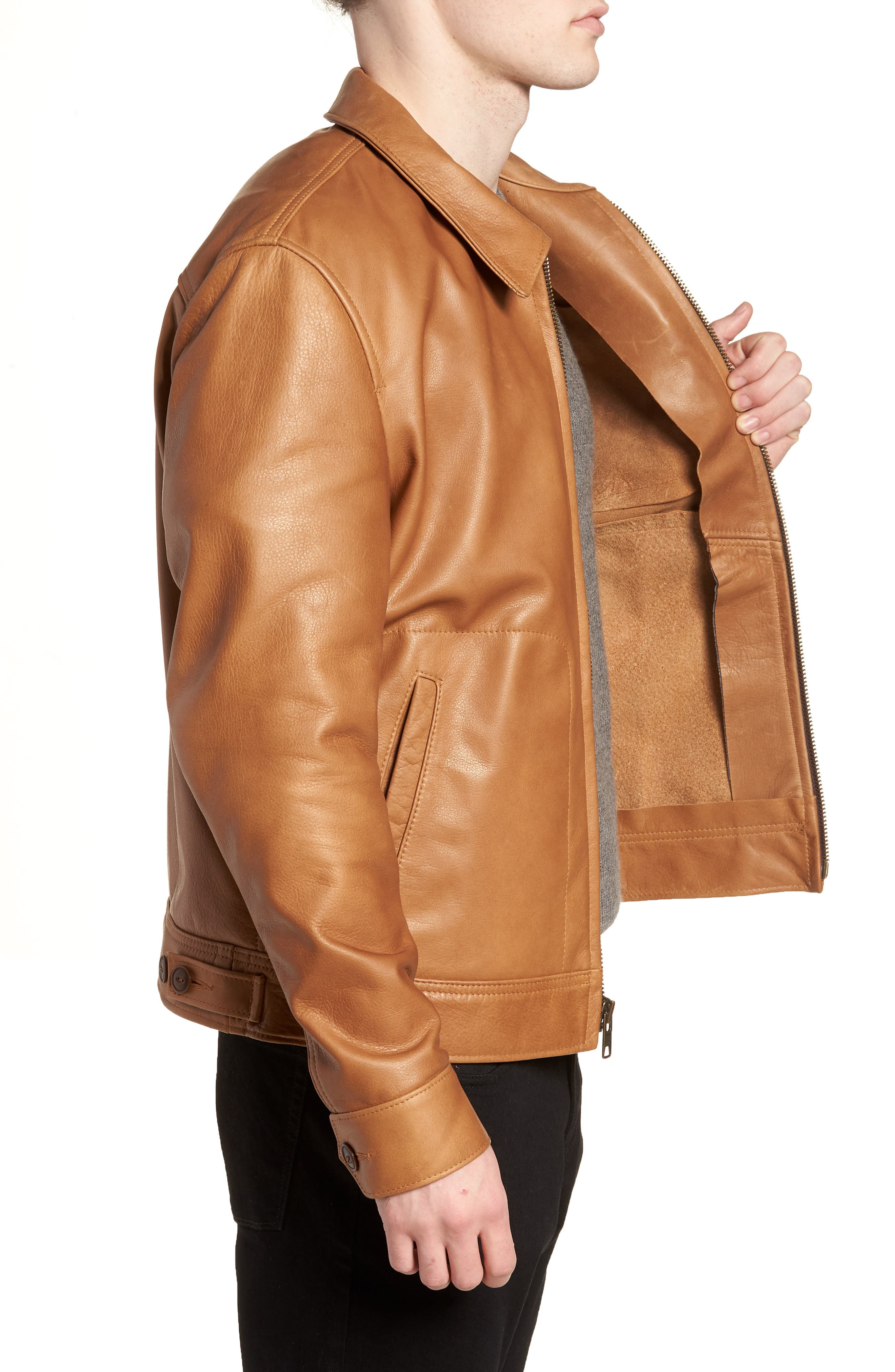 Waxy Leather Jacket,                             Alternate thumbnail 3, color,                             Rust