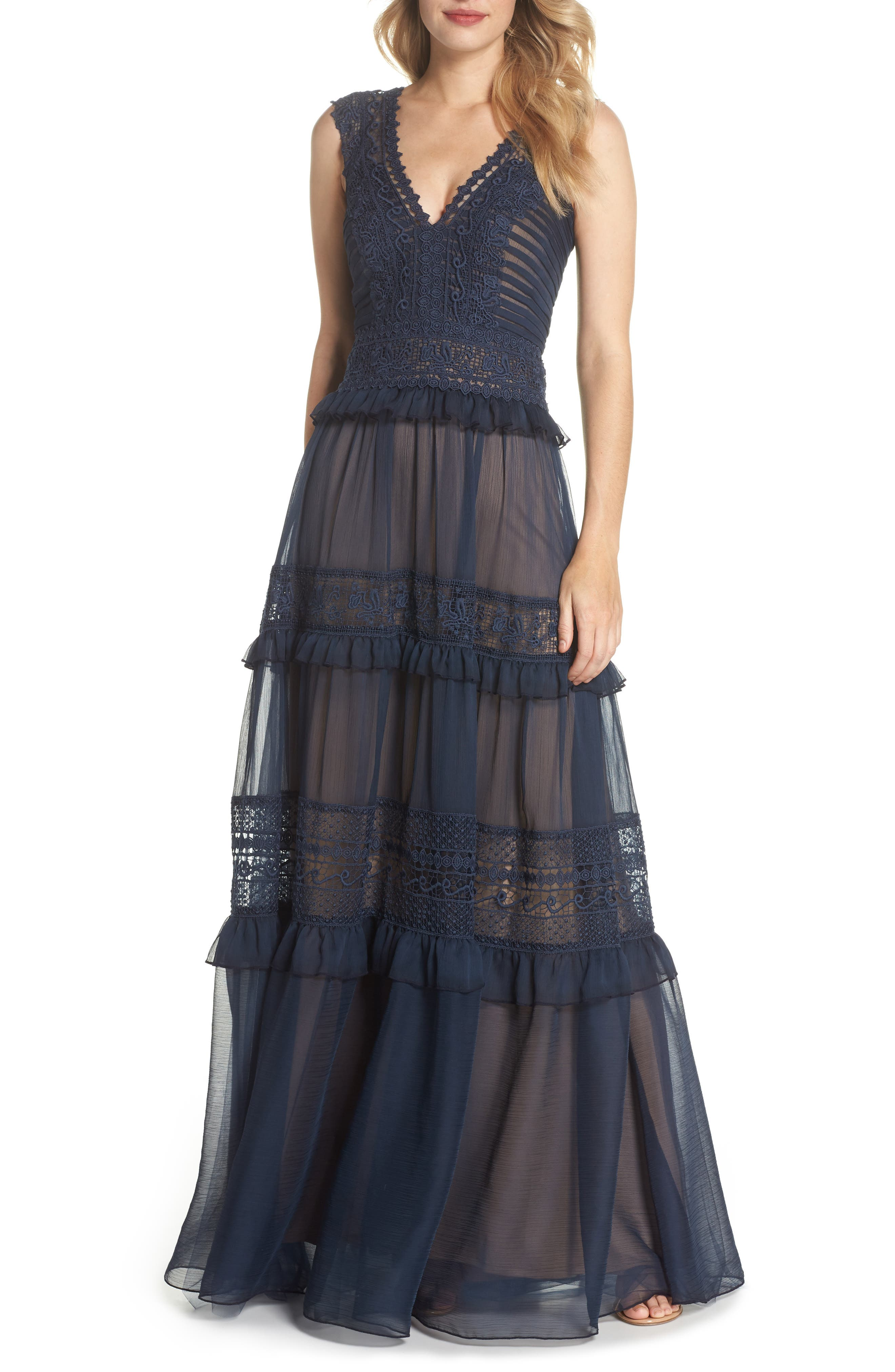 Tiered Lace & Chiffon Gown,                             Main thumbnail 1, color,                             Navy/ Nude