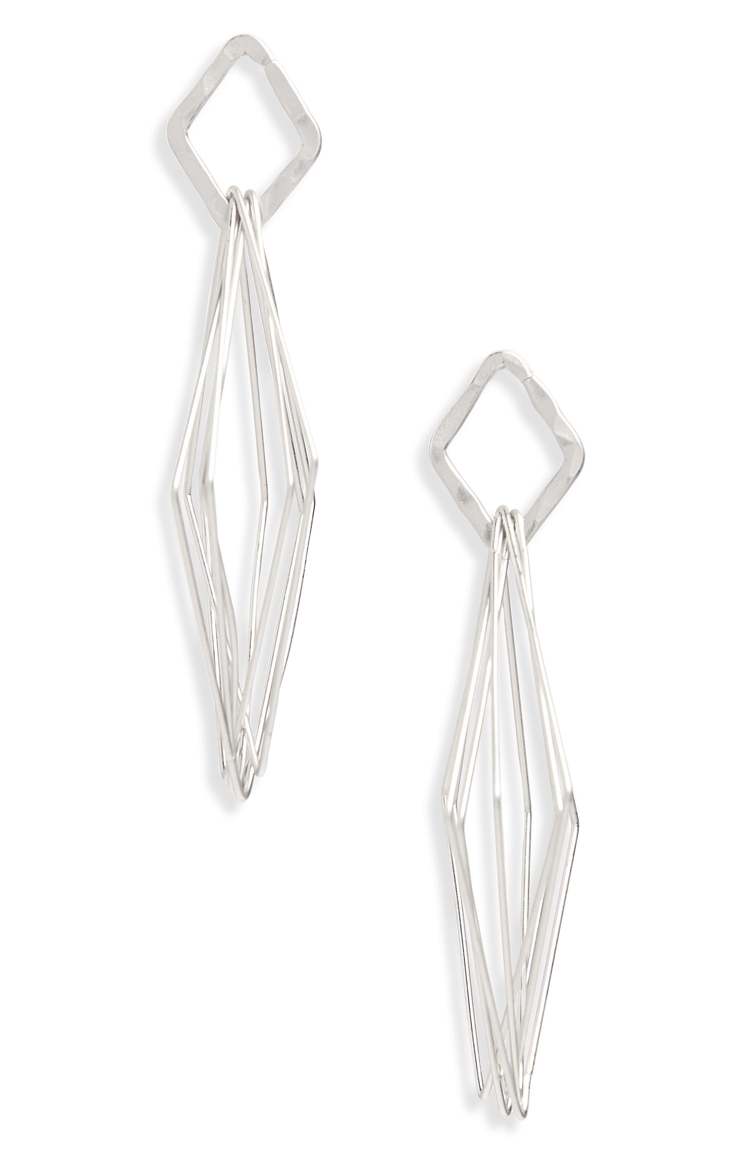 Geo Drop Earrings,                             Main thumbnail 1, color,                             Silver