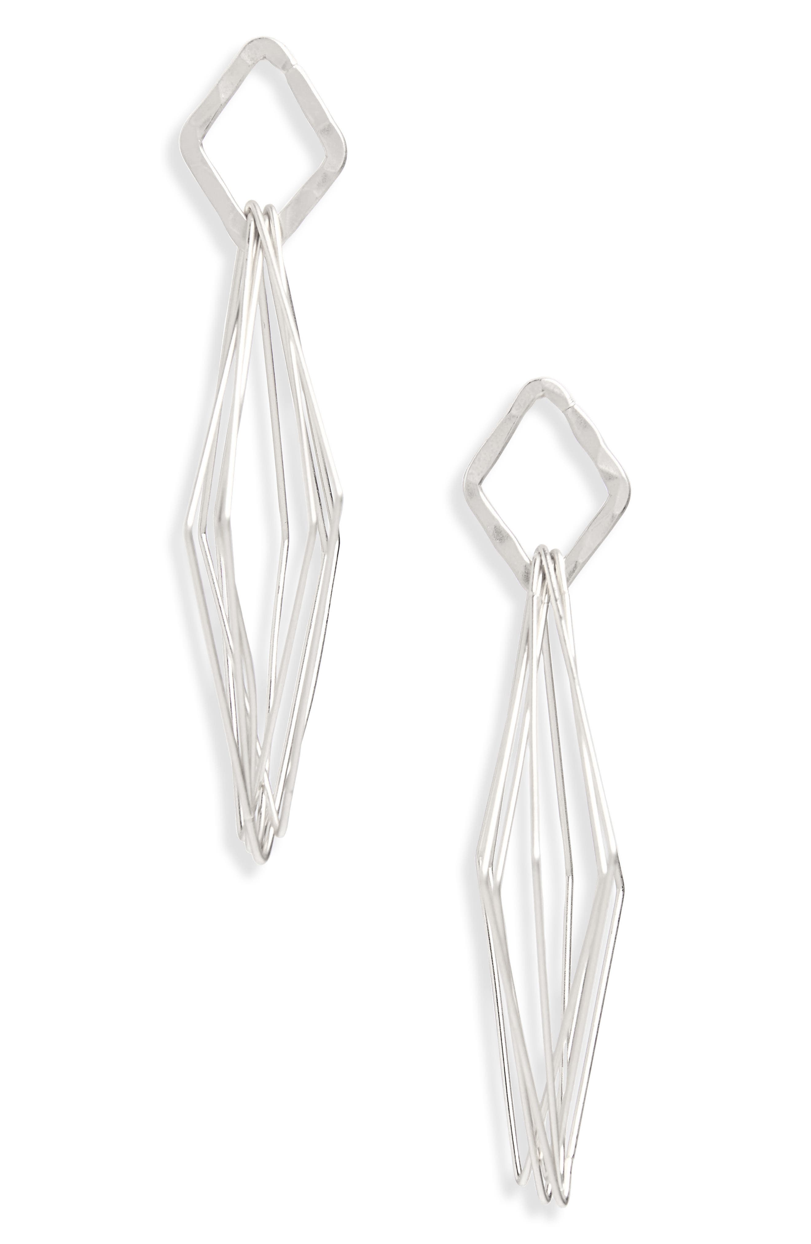 Geo Drop Earrings,                         Main,                         color, Silver