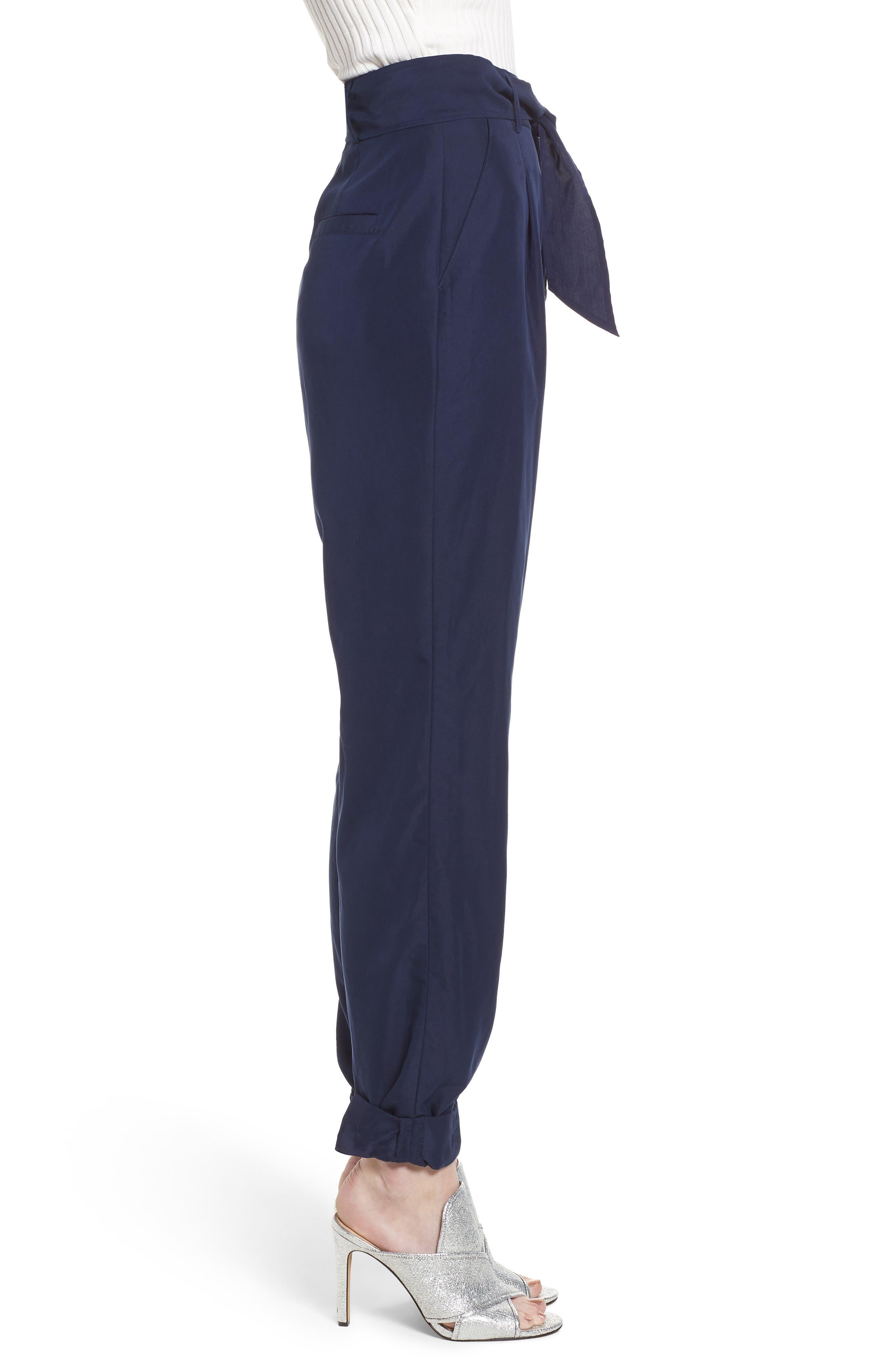 Tie Waist Pants,                             Alternate thumbnail 3, color,                             Navy Evening
