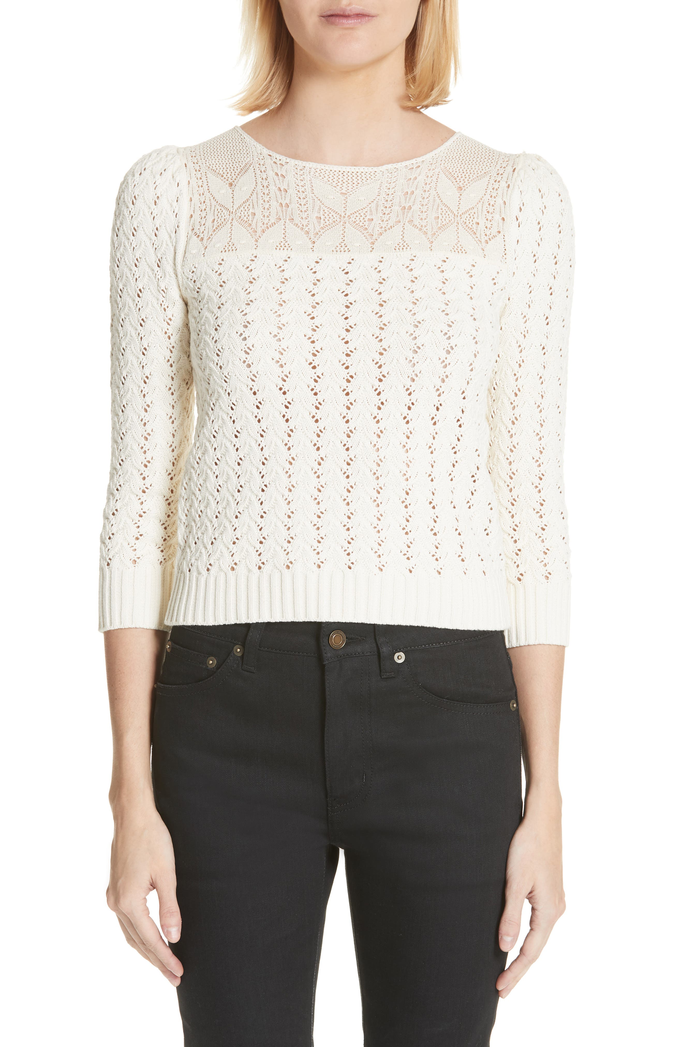Lace Yoke Knit Sweater,                         Main,                         color, Naturel