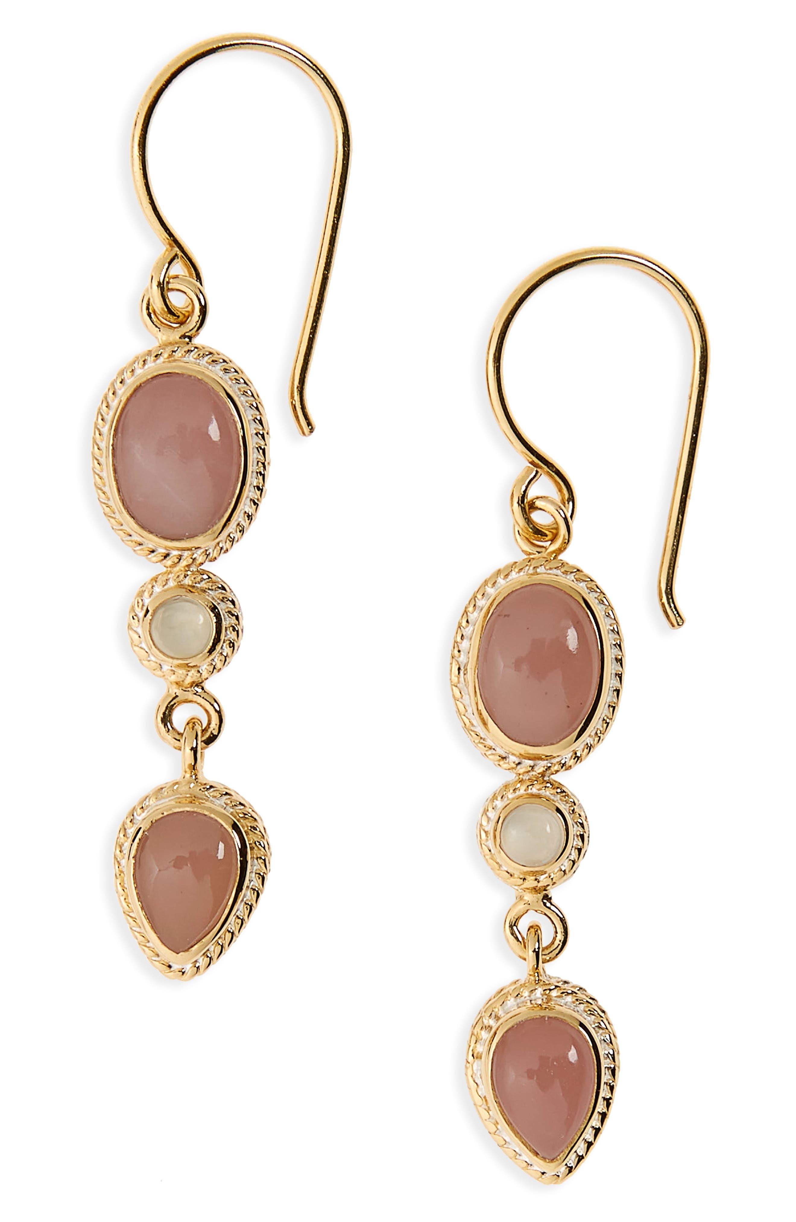 Stone Drop Earrings,                         Main,                         color, Gold/ Guava Quartz/ Moonstone
