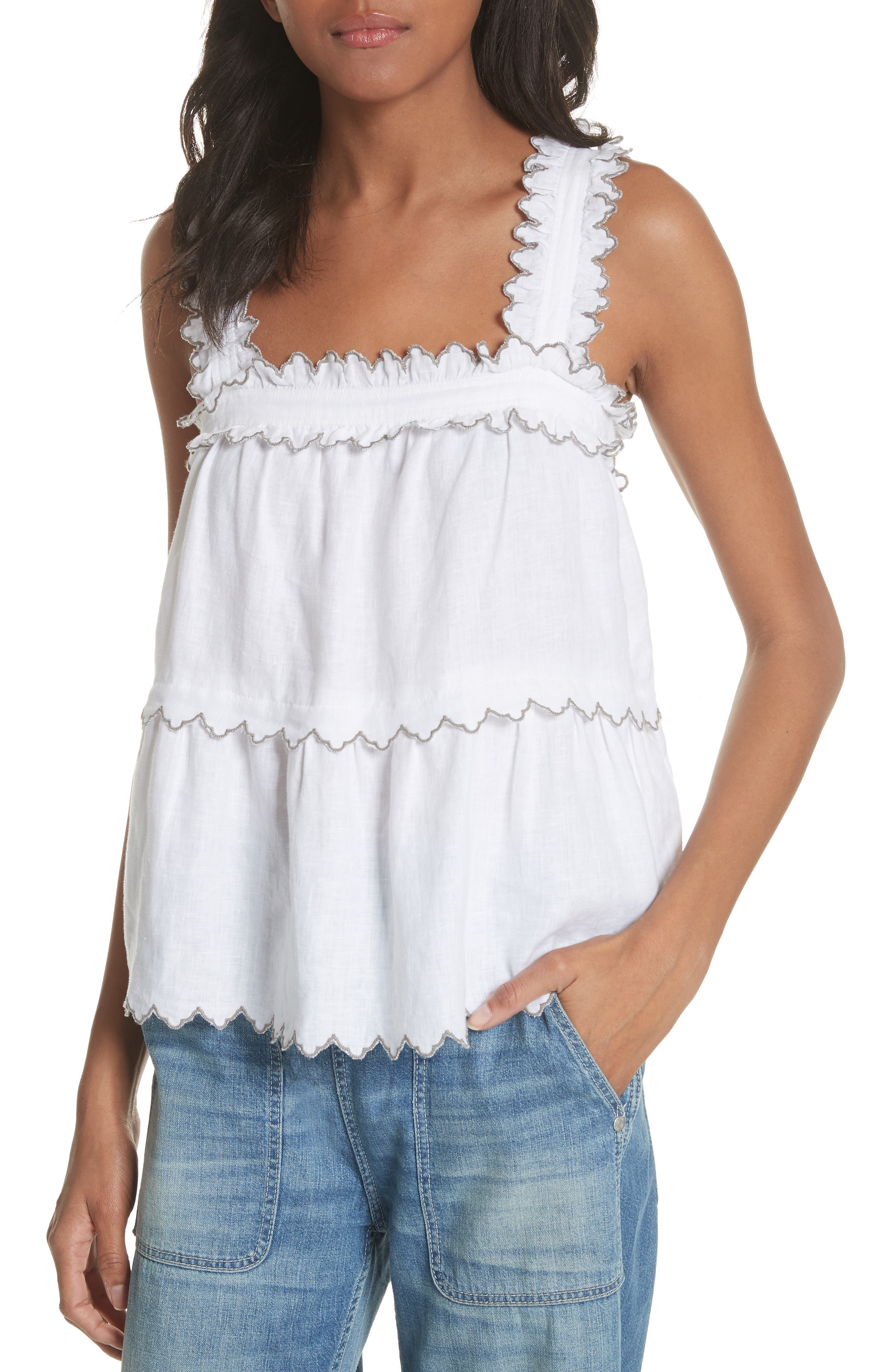 Embroidered Linen Tank,                         Main,                         color, Milk