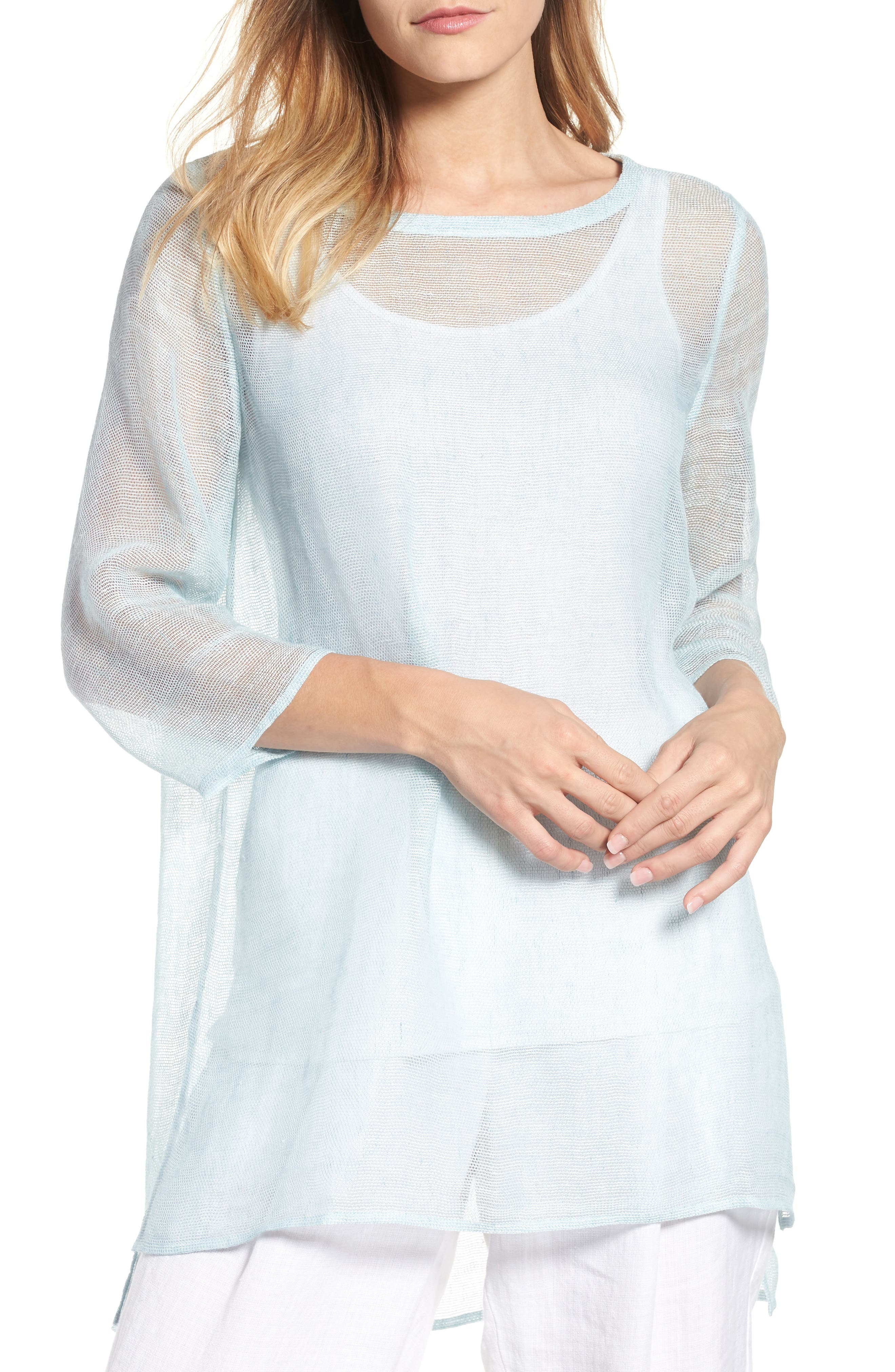 Organic Linen Blend Tunic,                             Main thumbnail 1, color,                             Pool