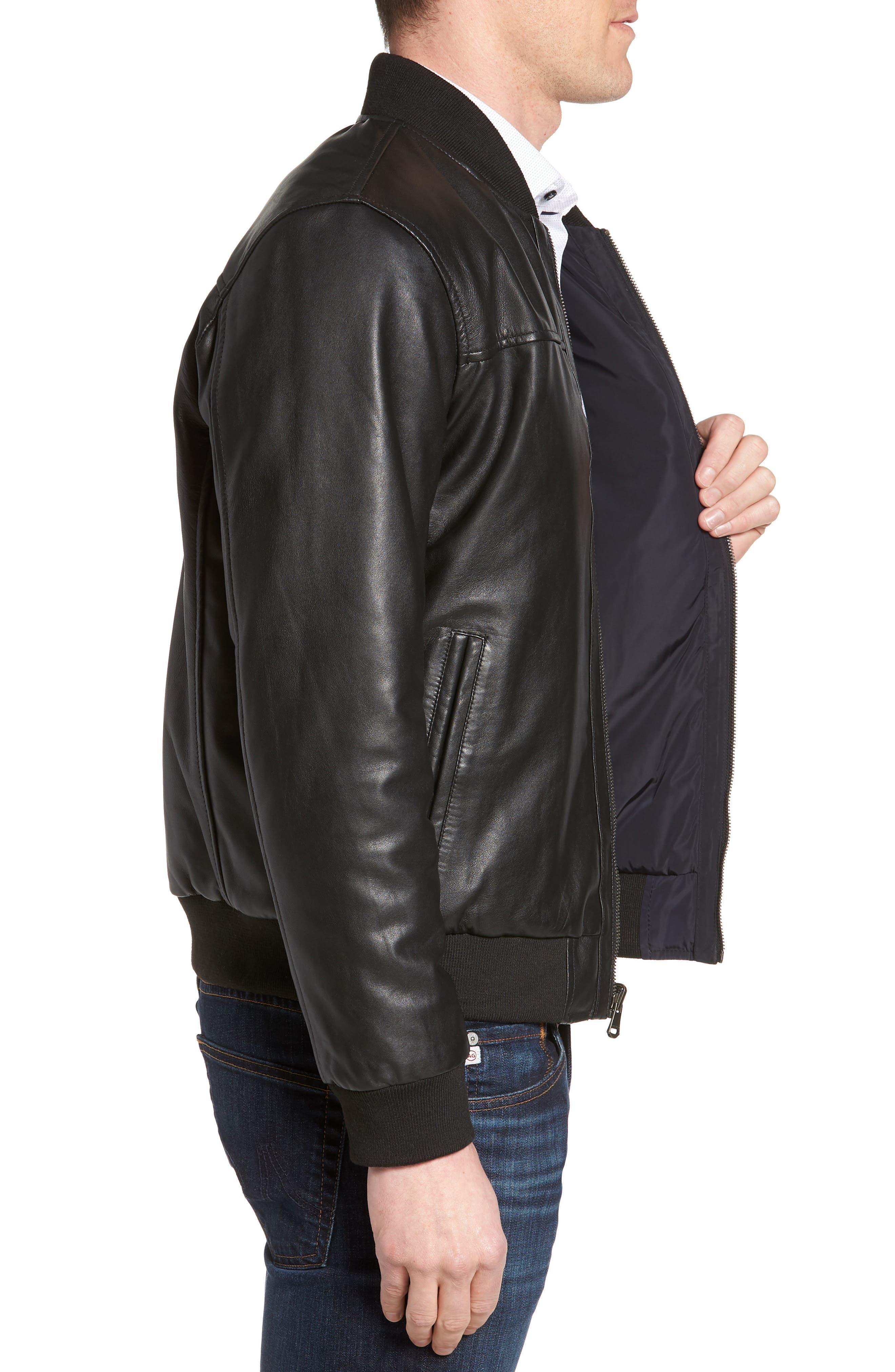 Reversible Leather Jacket,                             Alternate thumbnail 4, color,                             Black/ Navy