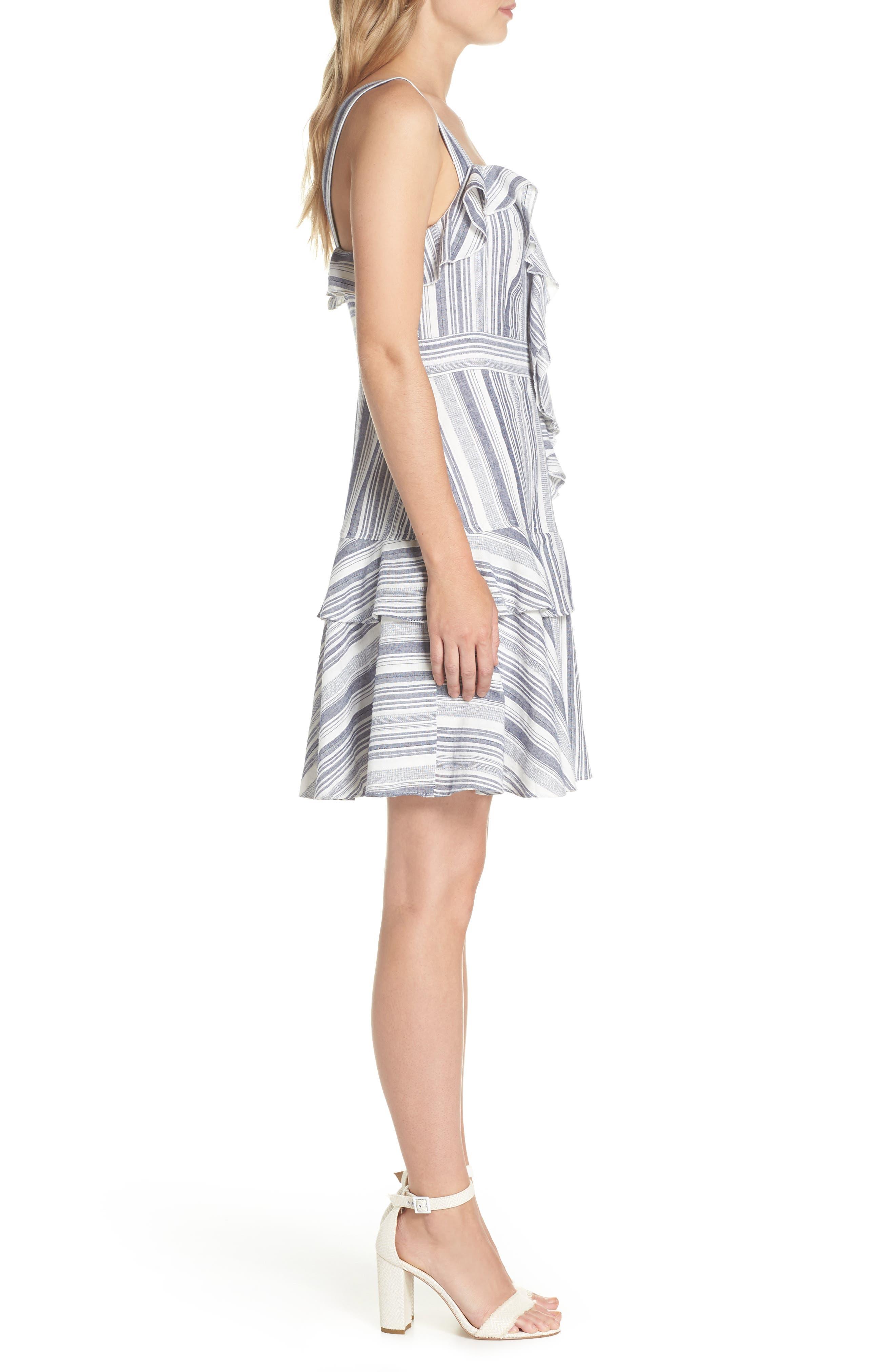 Stripe Ruffle Sundress,                             Alternate thumbnail 3, color,                             Navy
