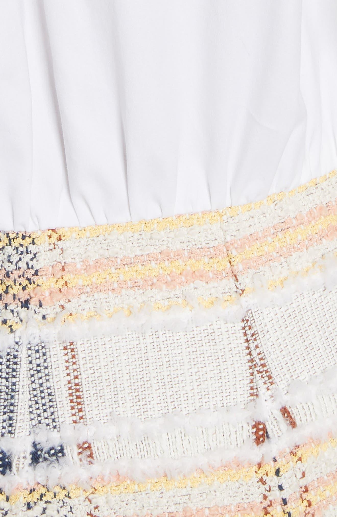 Aurelia Mixed Media Shirtdress,                             Alternate thumbnail 5, color,                             Off-White/ Navy/ Rust/ Yellow