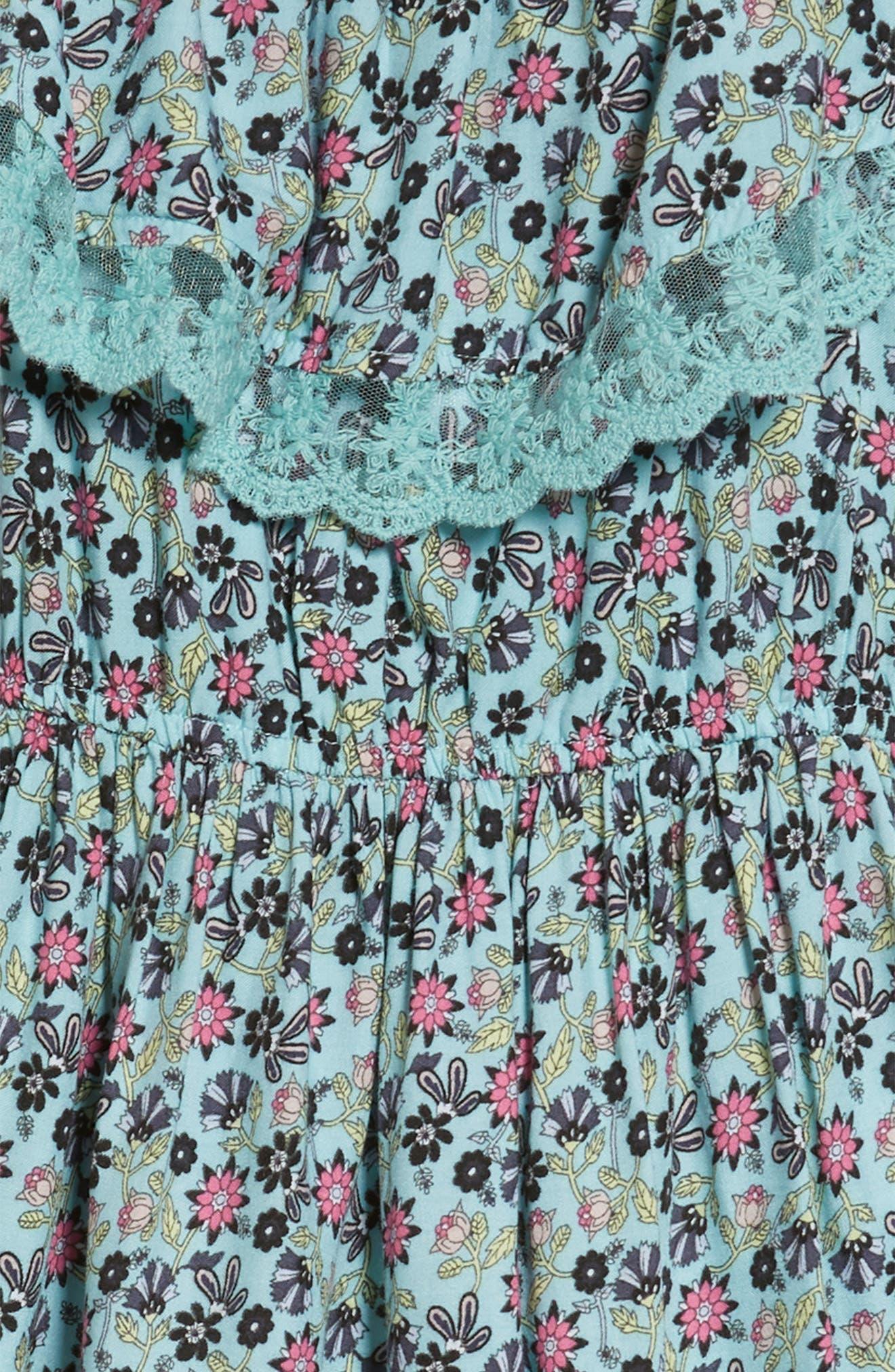 Cold Shoulder Fit & Flare Dress,                             Alternate thumbnail 3, color,                             Aqua Elephant