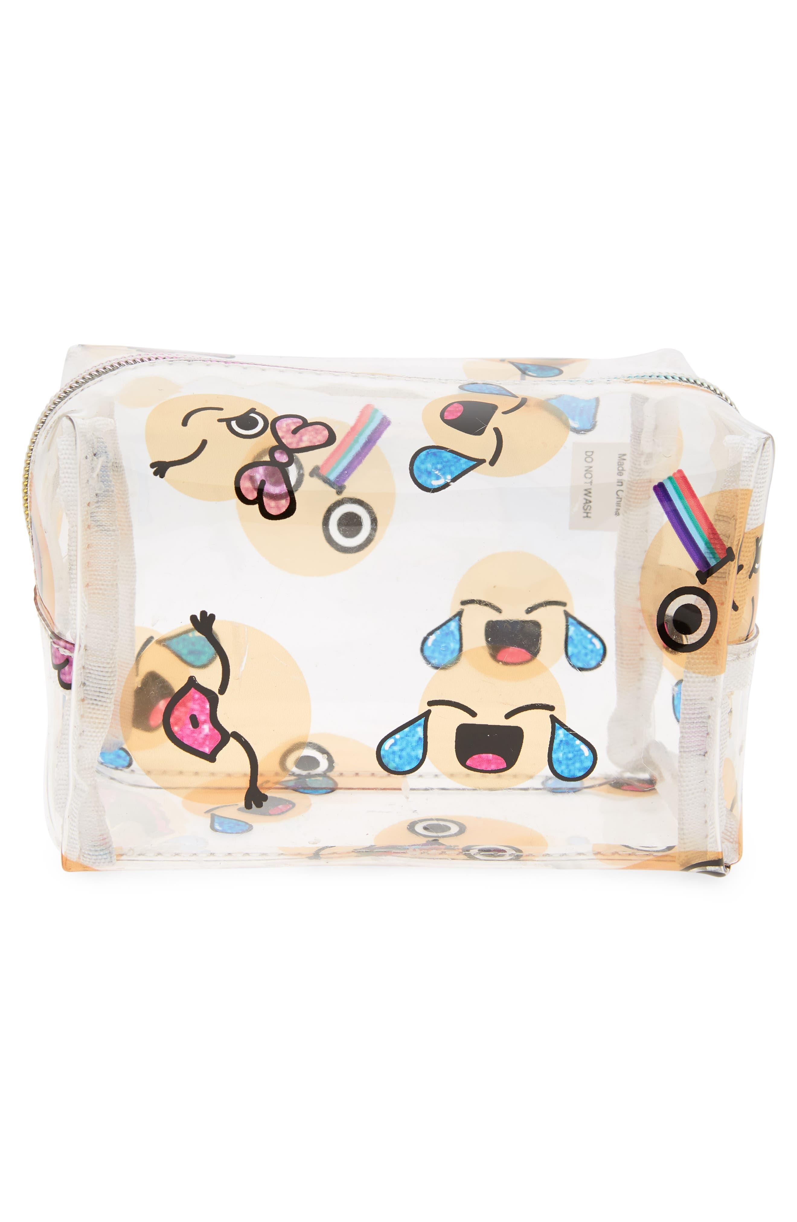 Emoji Cosmetics Case,                             Alternate thumbnail 2, color,                             Multi