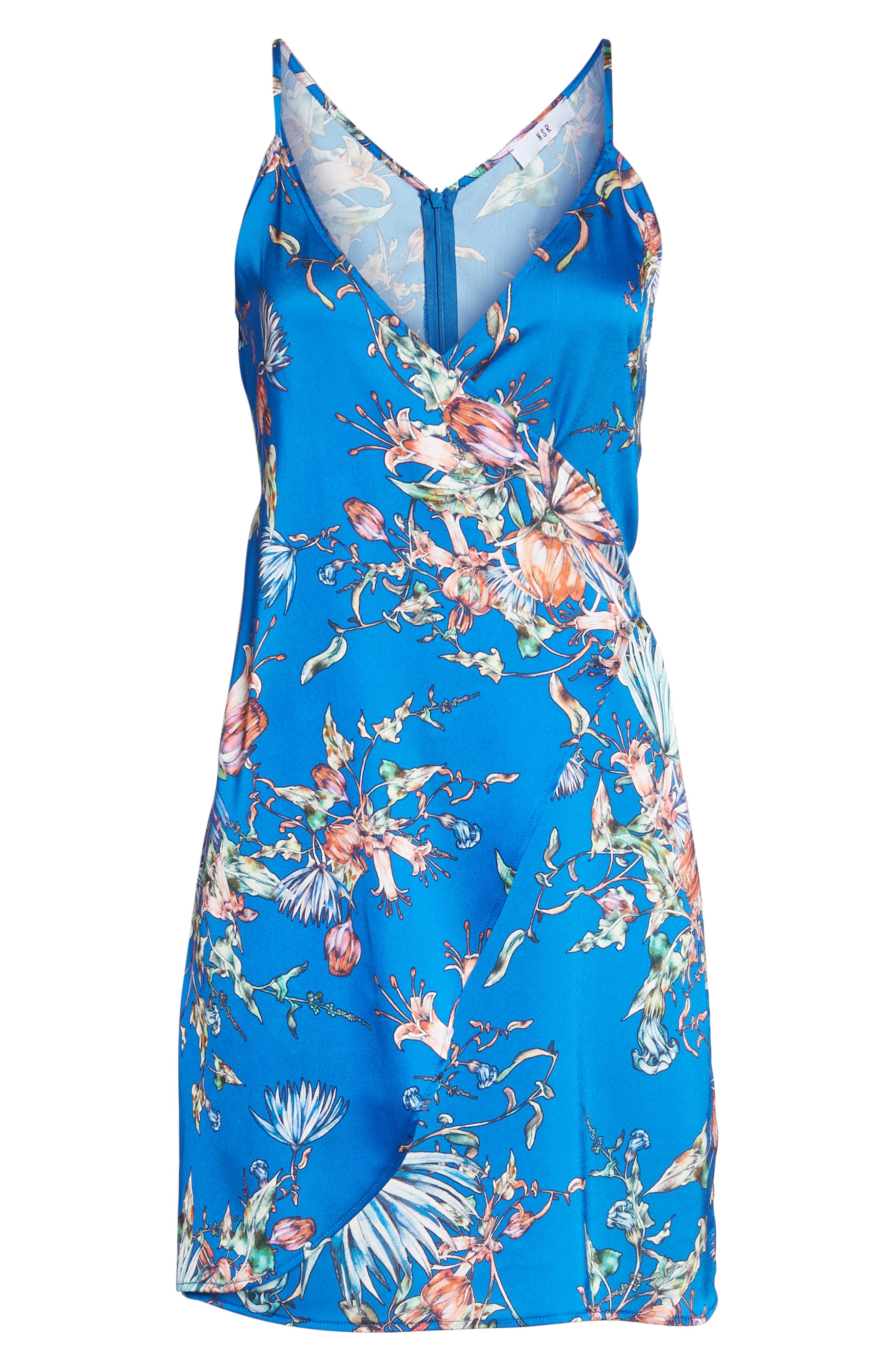 Floral Print Satin Faux Wrap Dress,                             Alternate thumbnail 7, color,                             Royal