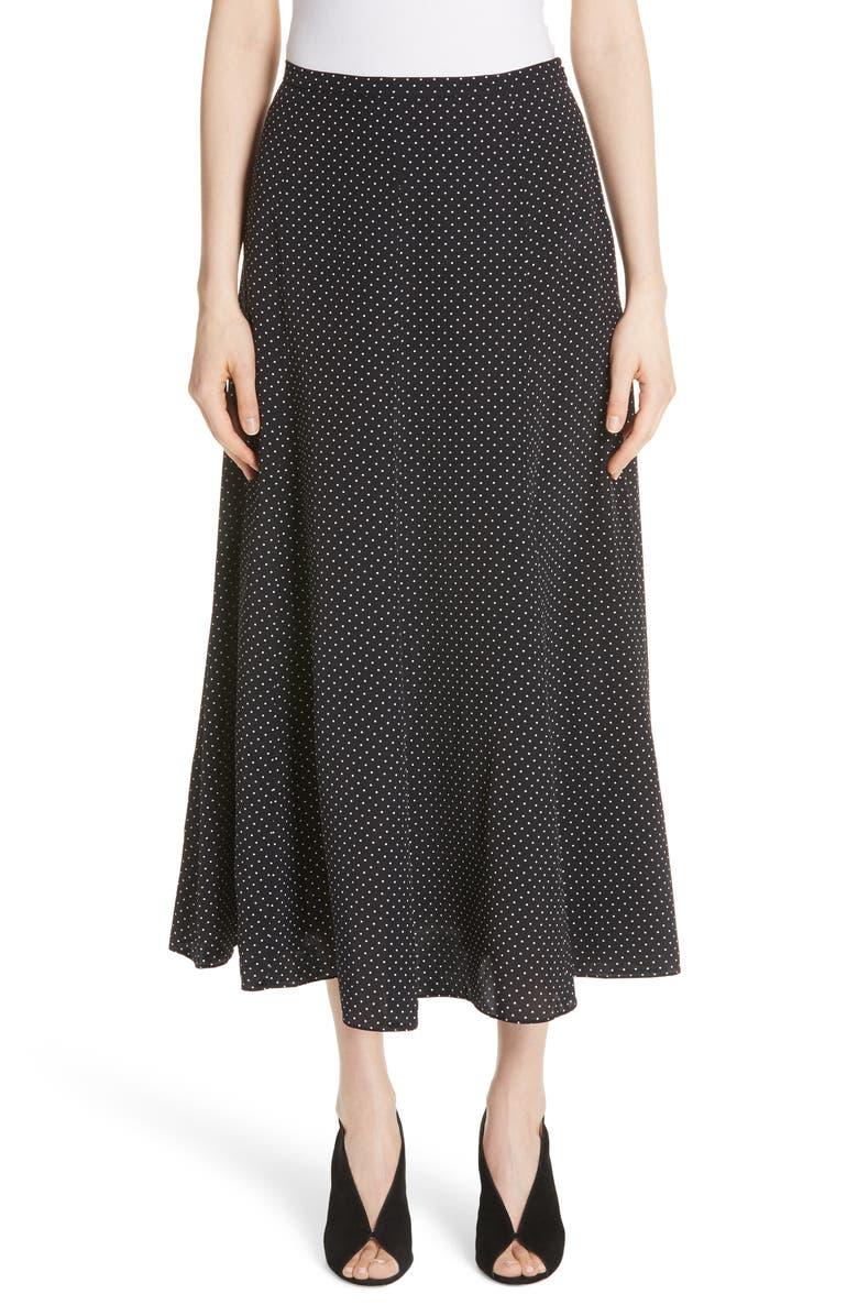 Pitone Polka Dot Print Silk Skirt