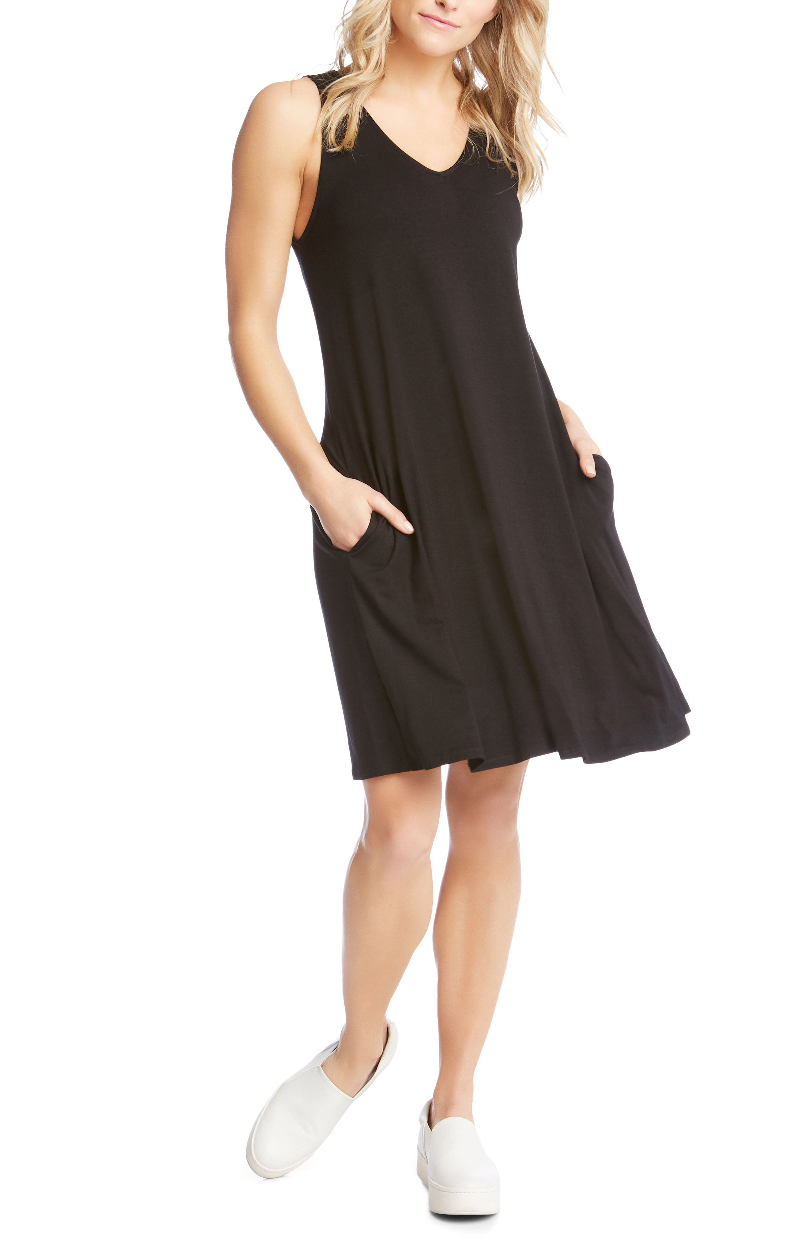 Tessa Jersey Tank Dress,                             Main thumbnail 1, color,                             Black