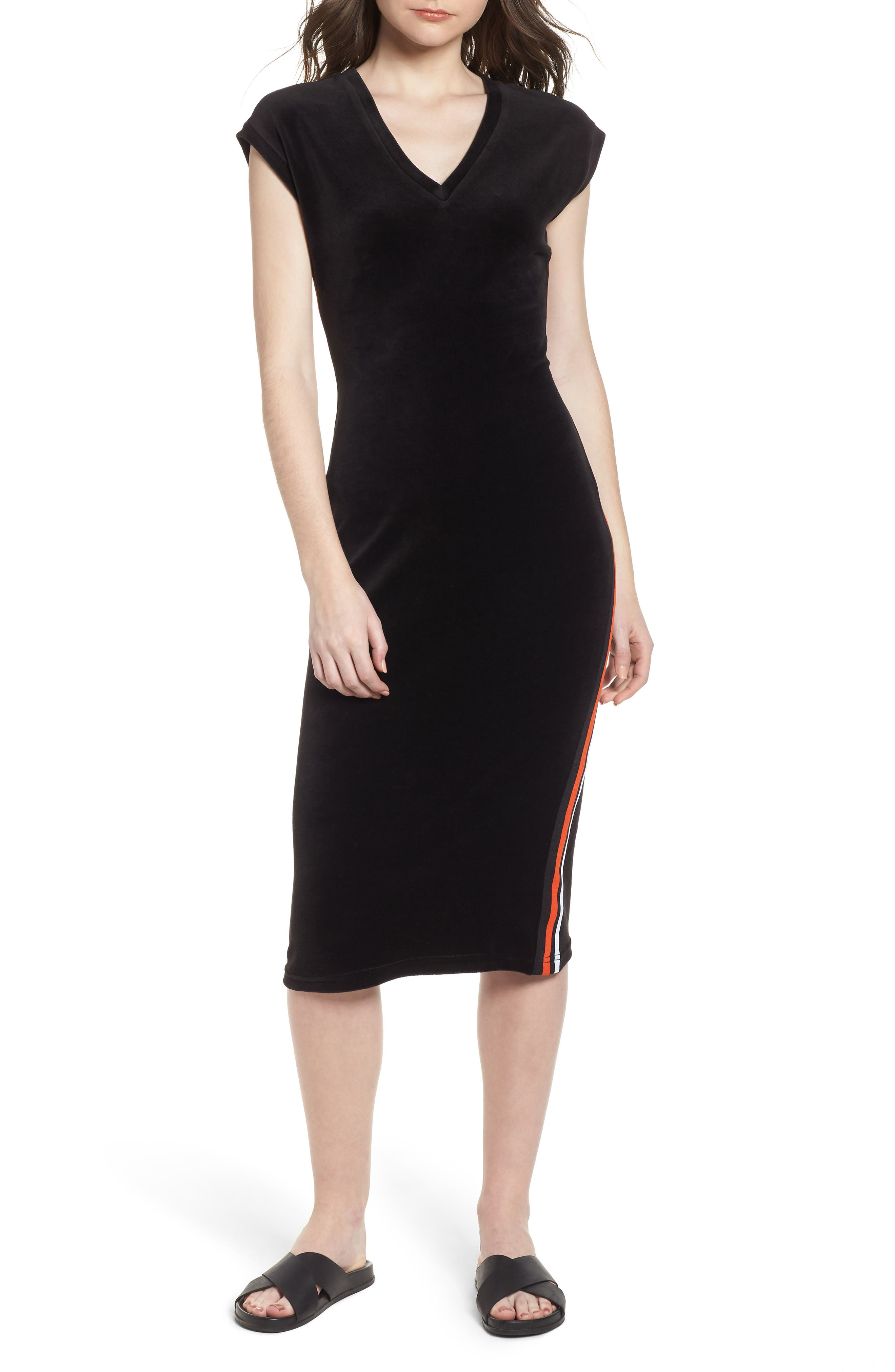 Fitted Stretch Velour Midi Dress,                             Main thumbnail 1, color,                             Pitch Black