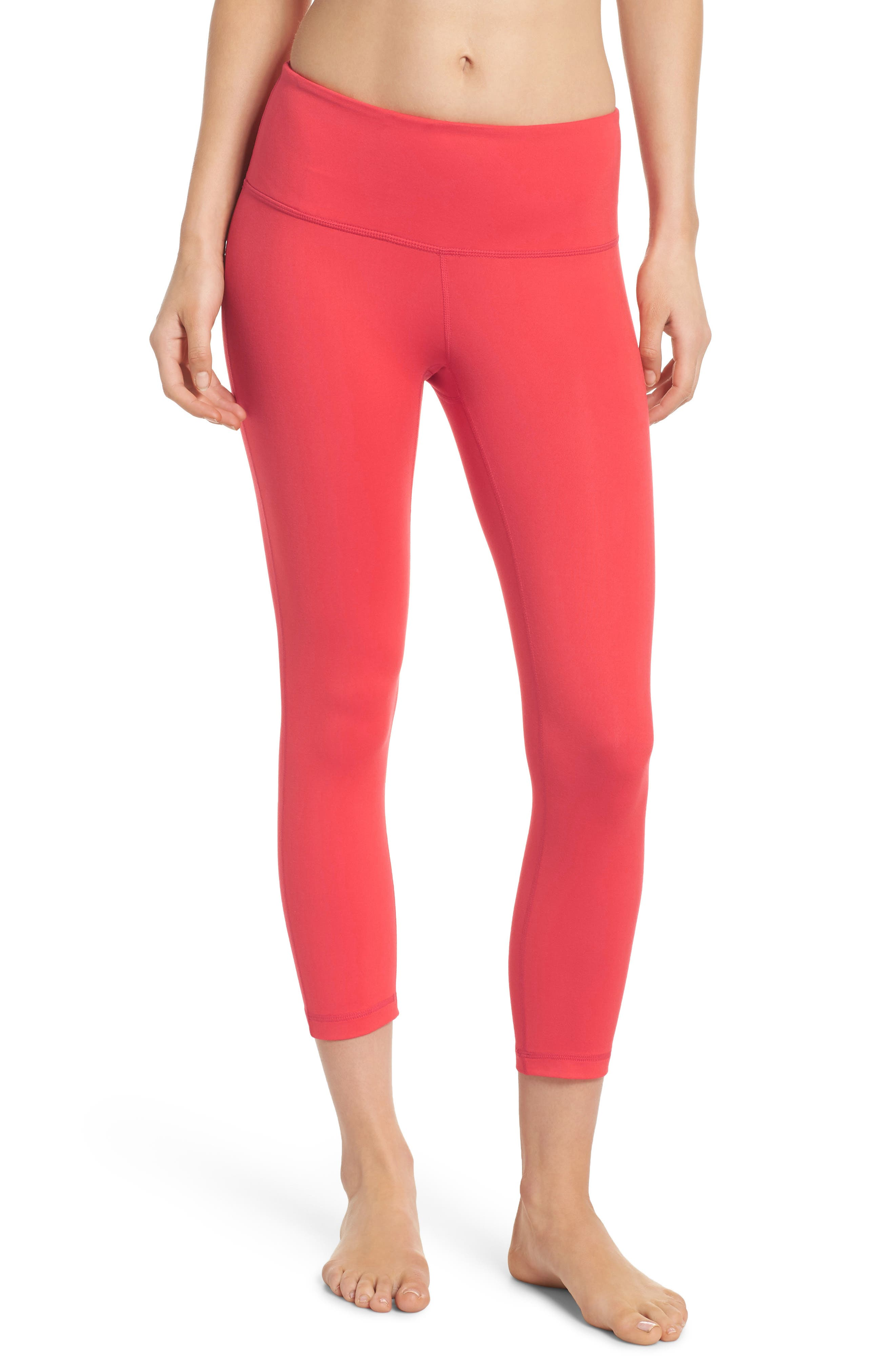Live In Lite Crop Leggings,                         Main,                         color, Red Hibiscus