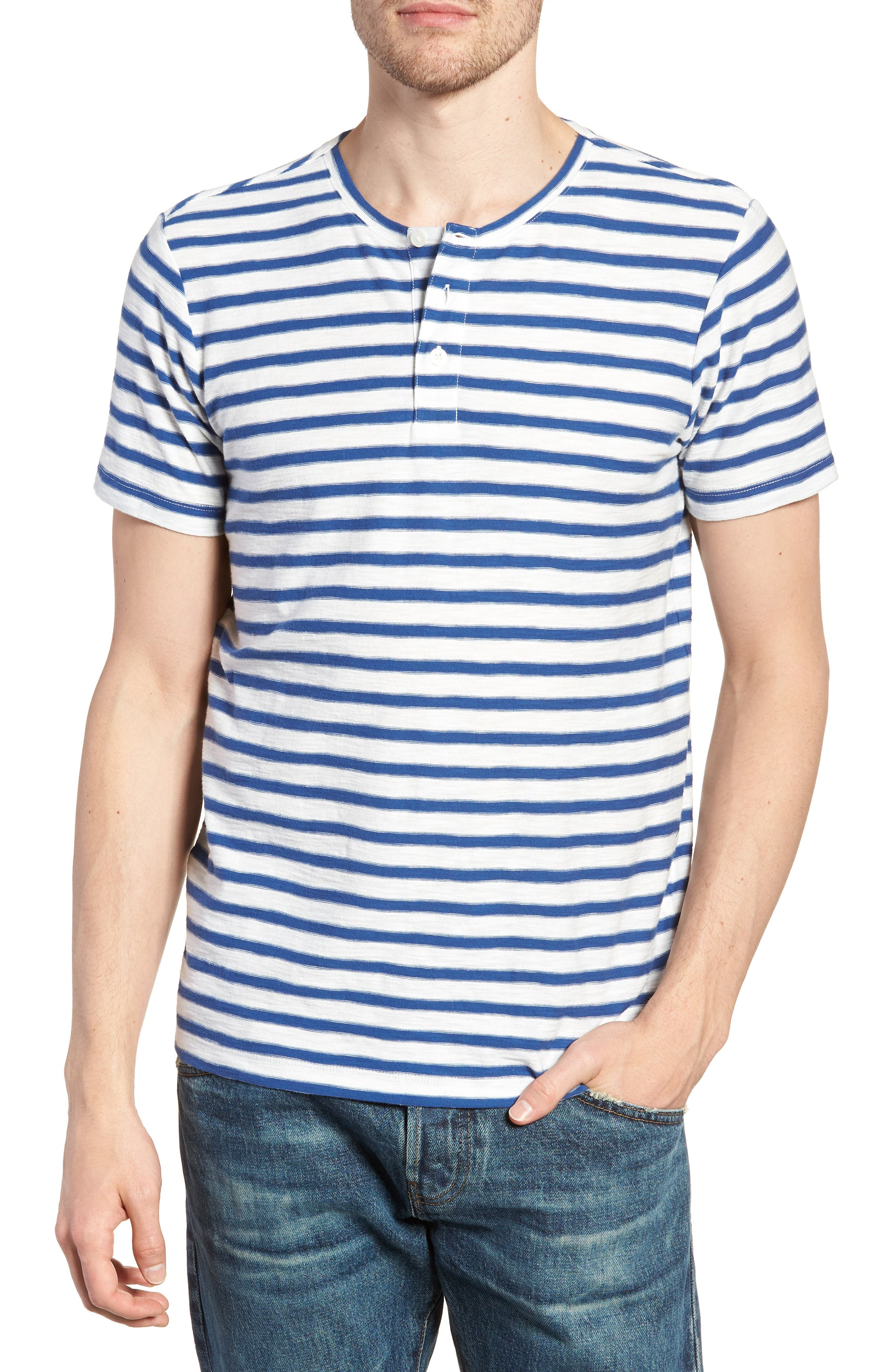 Stripe Henley T-Shirt,                         Main,                         color, Gold Coast Print