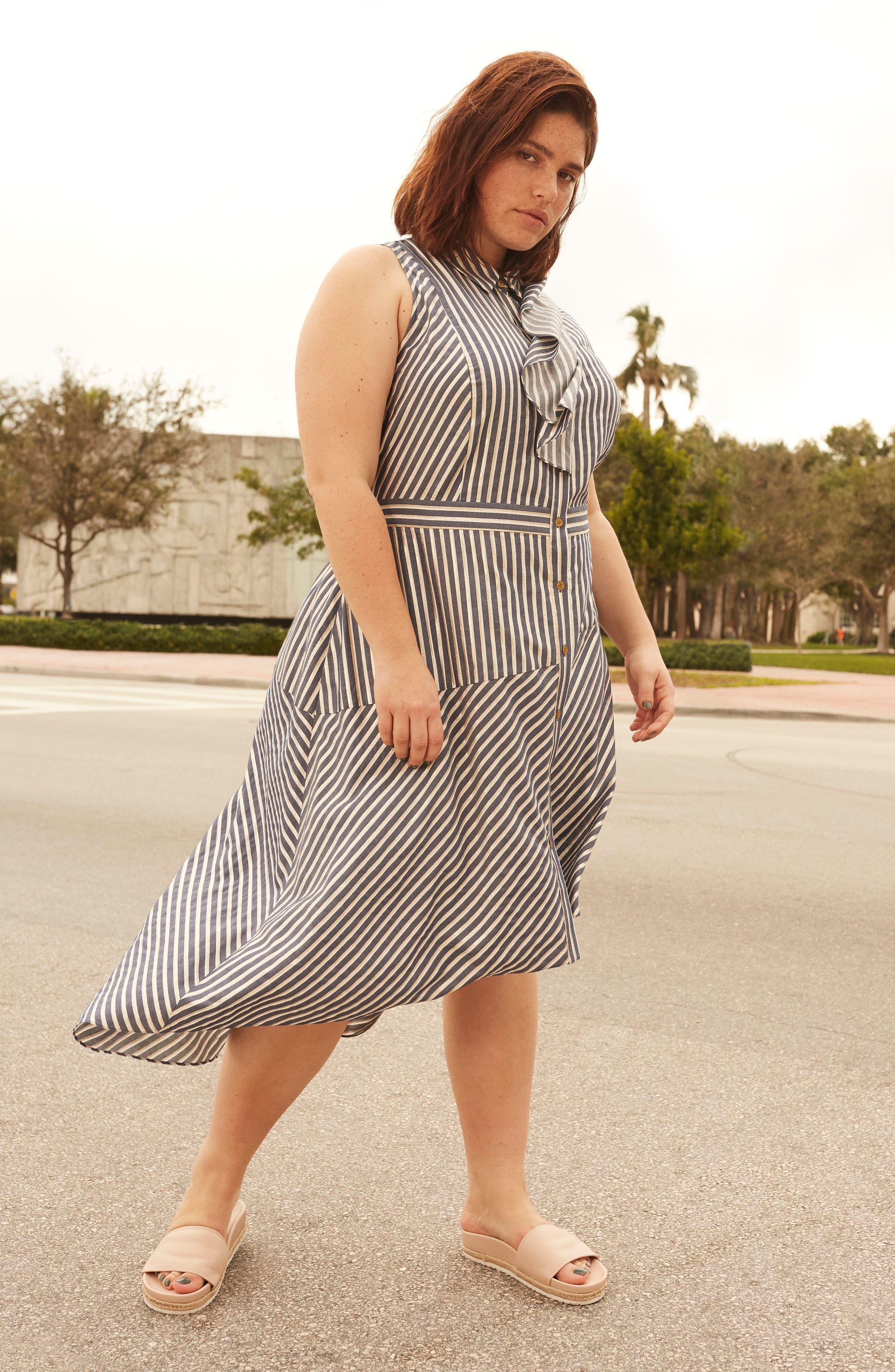 Stripe Asymmetrical Ruffle Shirtdress,                             Alternate thumbnail 2, color,                             True Navy Combo