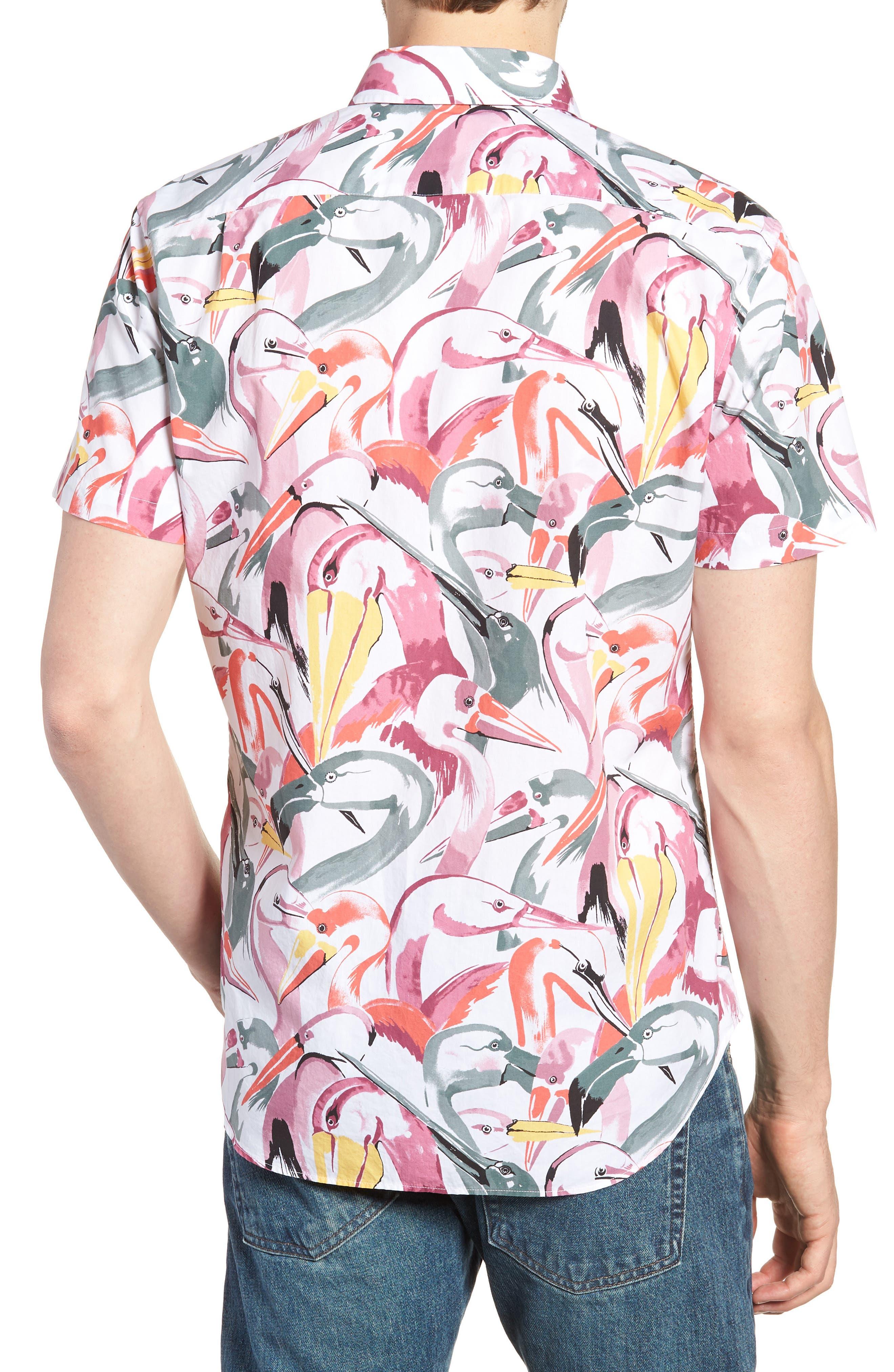 Premium Slim Fit Print Short Sleeve Sport Shirt,                             Alternate thumbnail 2, color,                             Bird Print