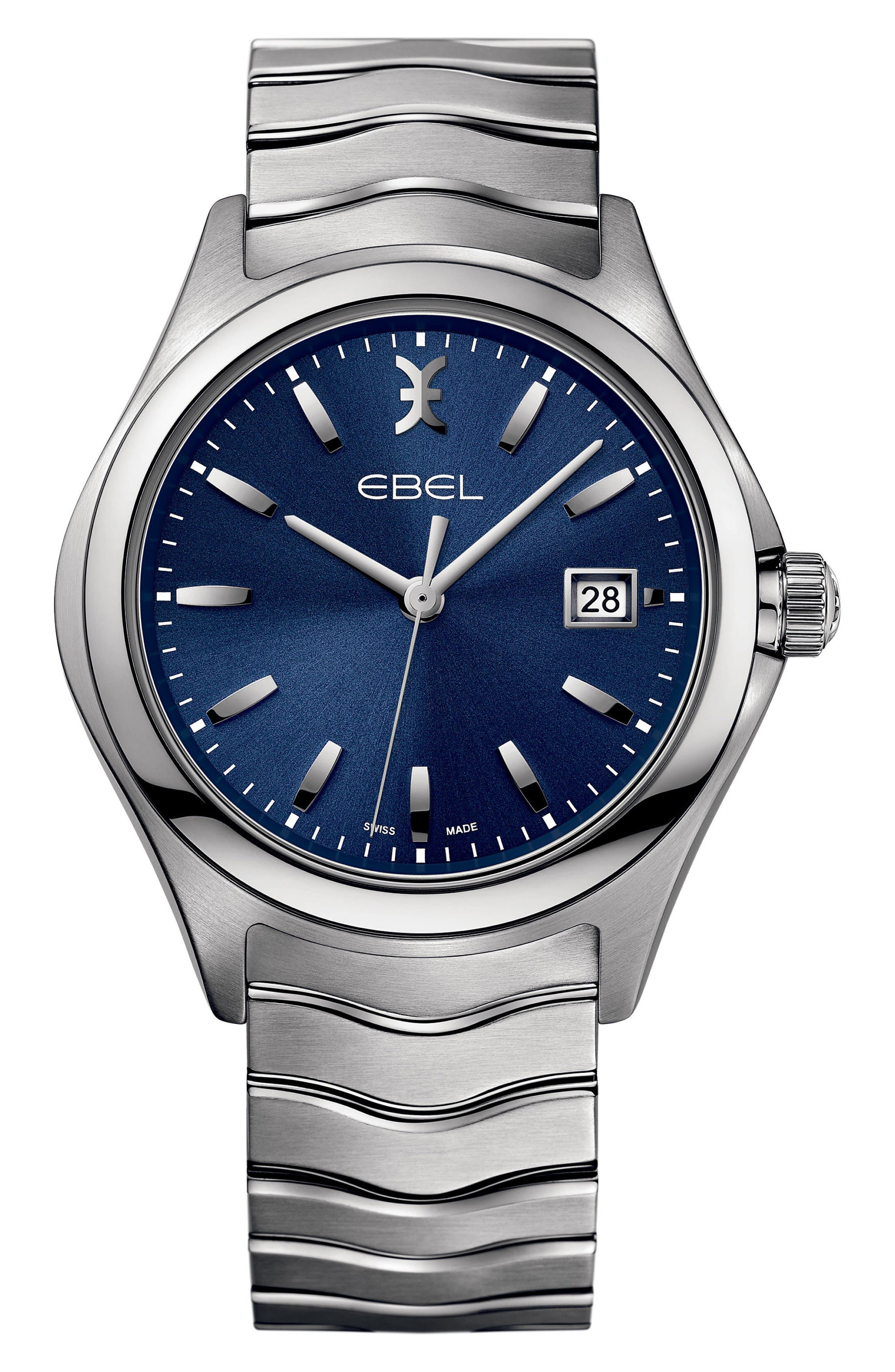 Wave Bracelet Watch, 40mm,                         Main,                         color, Silver/ Blue/ Silver