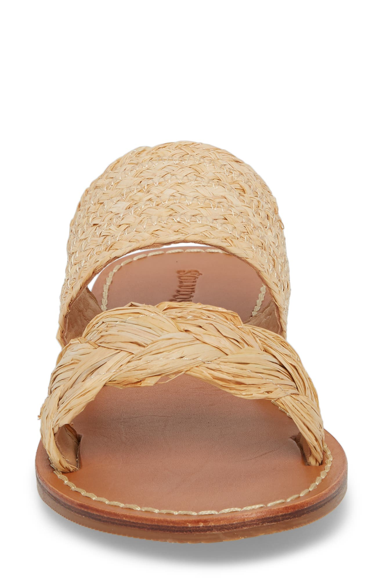 Braided Slide Sandal,                             Alternate thumbnail 4, color,                             Natural Leather