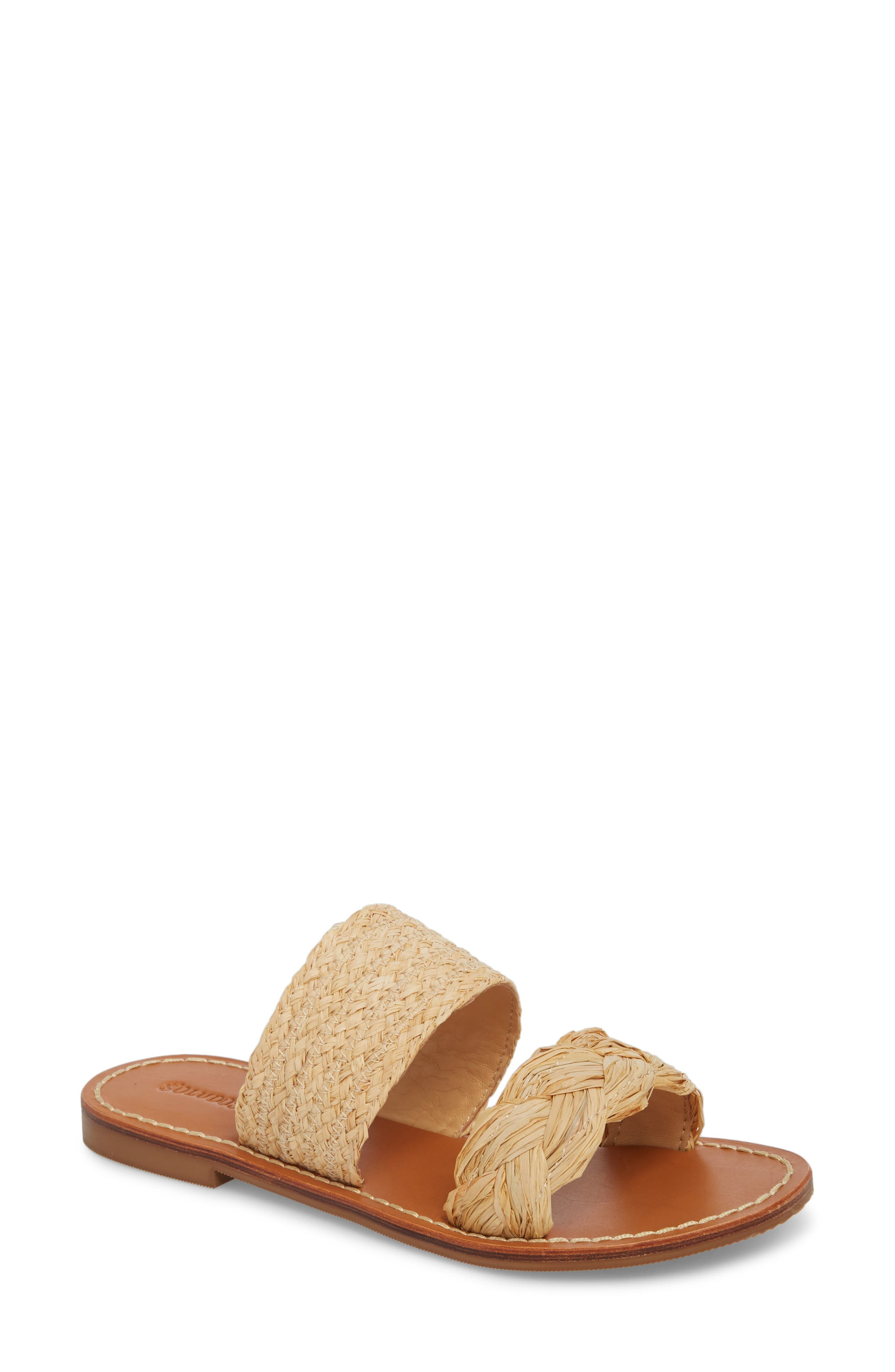 Braided Slide Sandal,                             Main thumbnail 1, color,                             Natural Leather