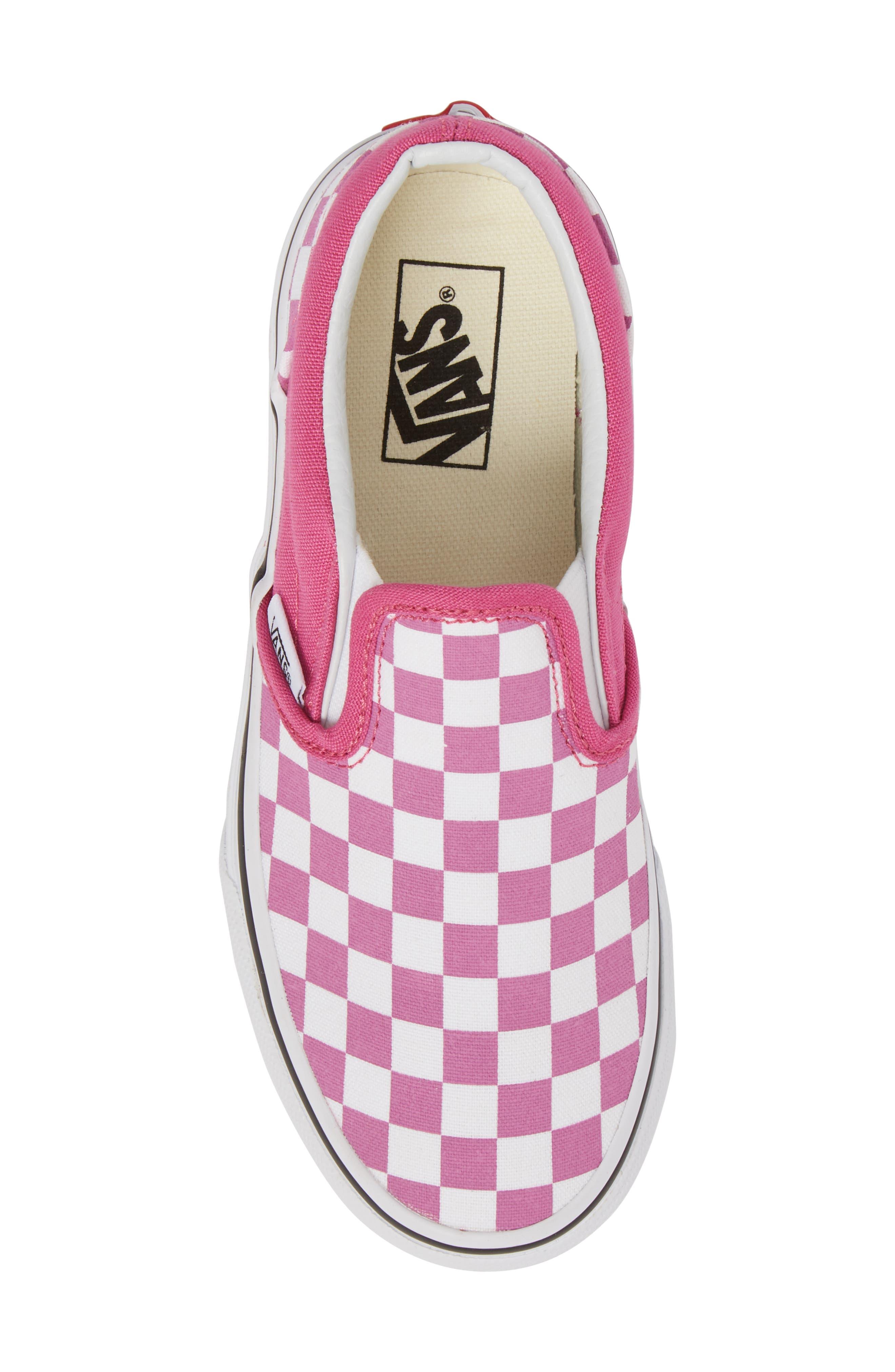 'Classic - Checkerboard' Slip-On,                             Alternate thumbnail 5, color,                             Rose/ White Checkerboard