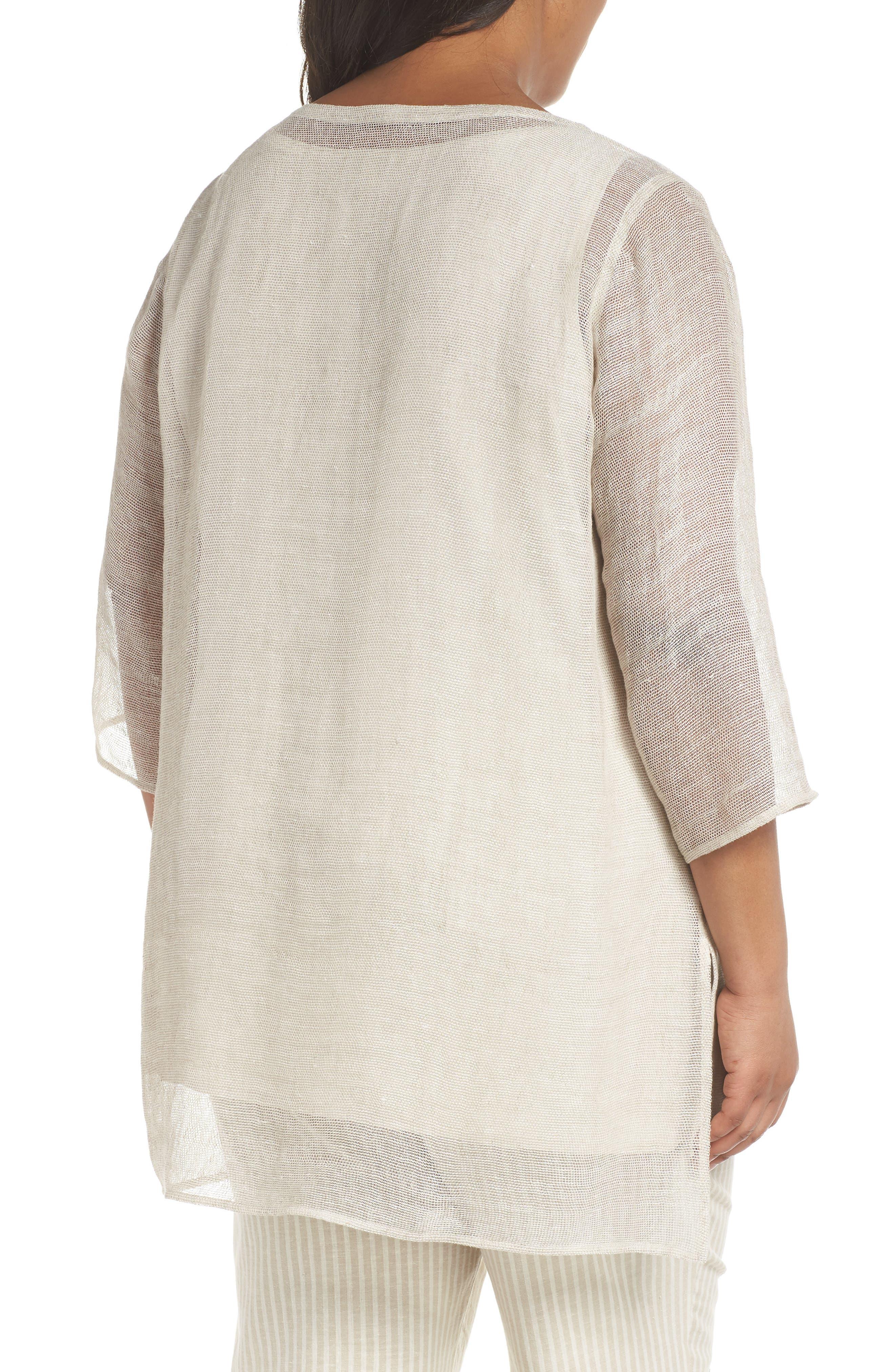Organic Linen Mesh Tunic,                             Alternate thumbnail 2, color,                             Undyed Natural