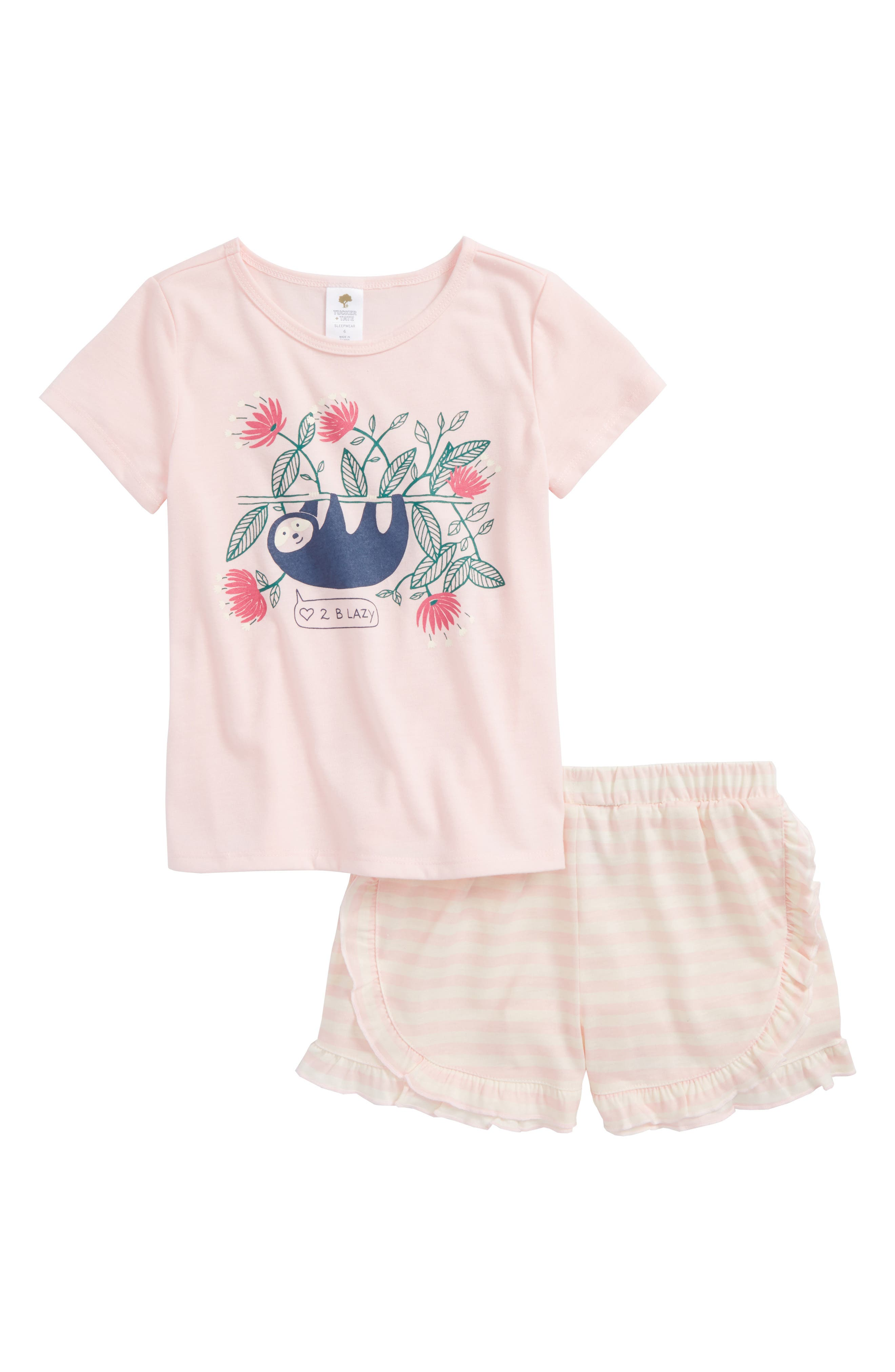 Two-Piece Pajamas,                             Main thumbnail 1, color,                             Pink Baby Sloth