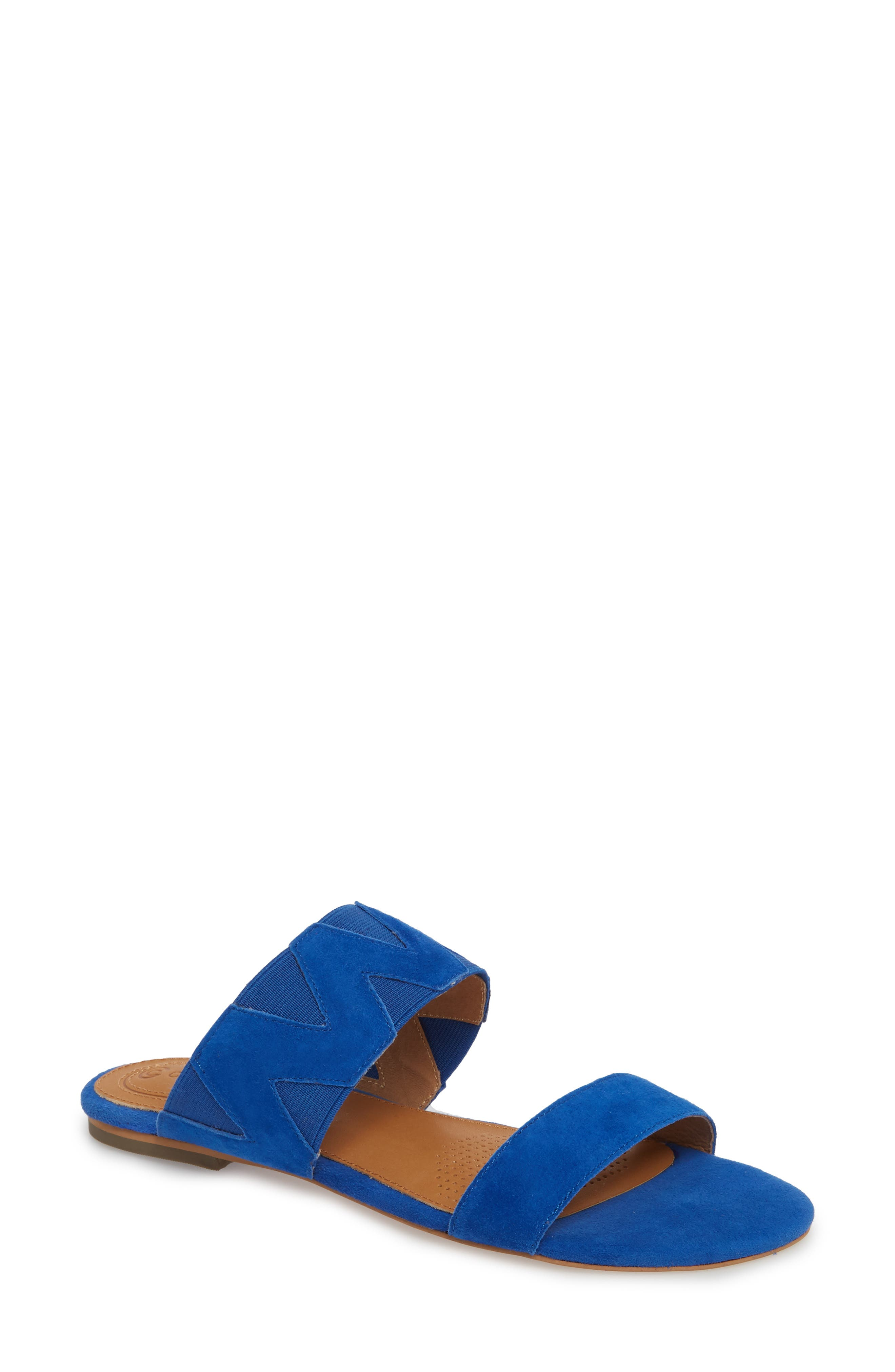 Vickee Double Band Sandal,                             Main thumbnail 1, color,                             Royal Blue Leather