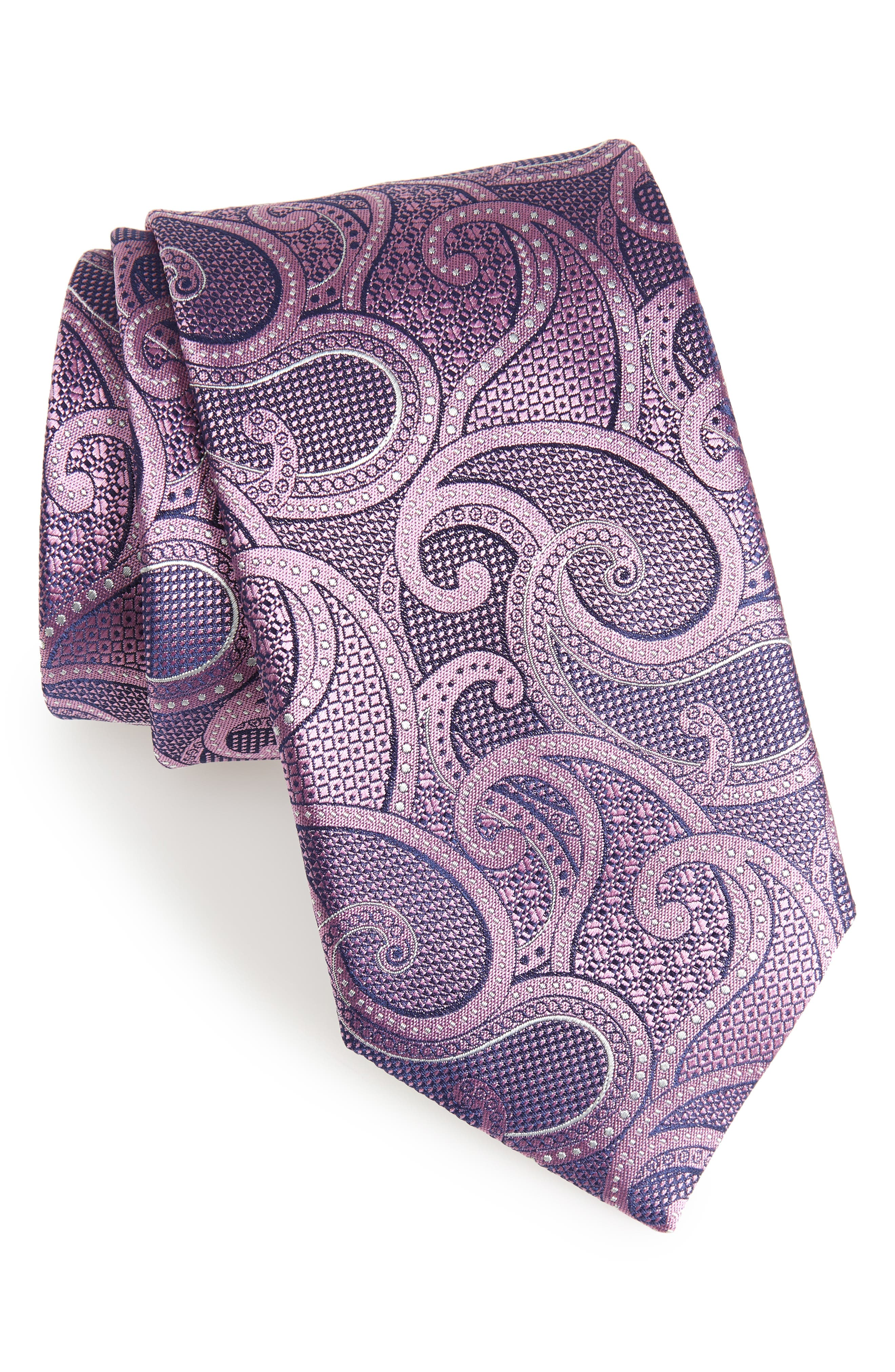Paisley Silk Tie,                         Main,                         color, Dark Pink