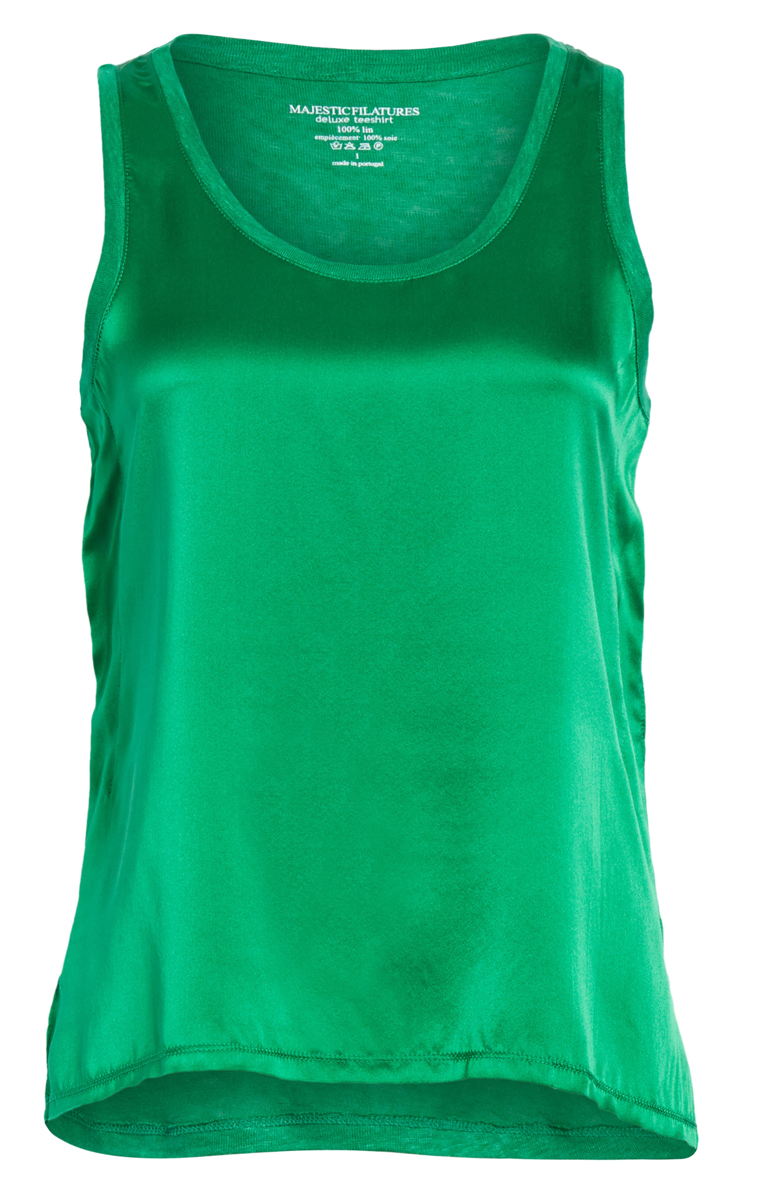 Silk & Linen Tank,                             Alternate thumbnail 6, color,                             Green