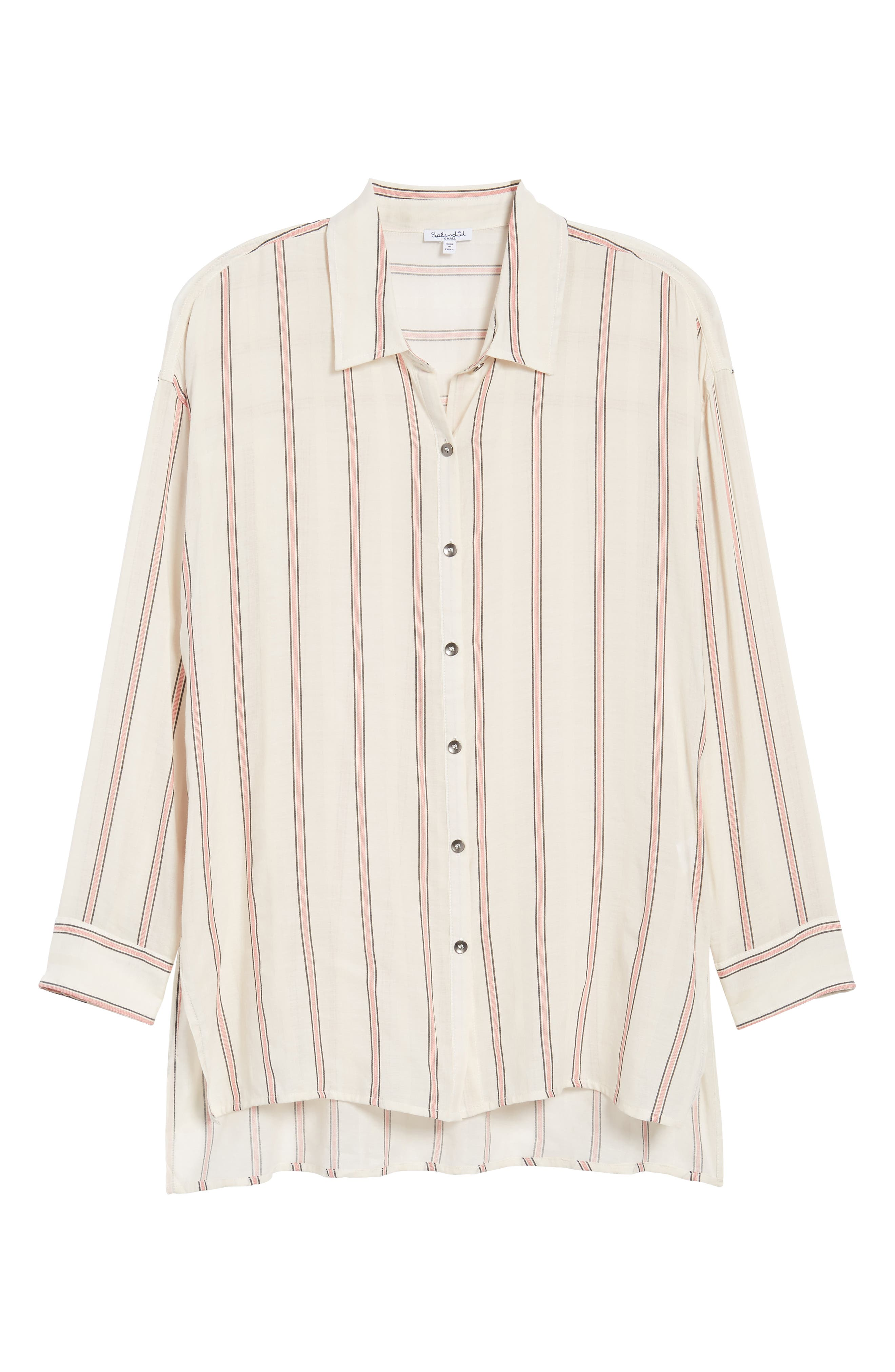 Stripe Woven Shirt,                             Alternate thumbnail 7, color,                             Off White