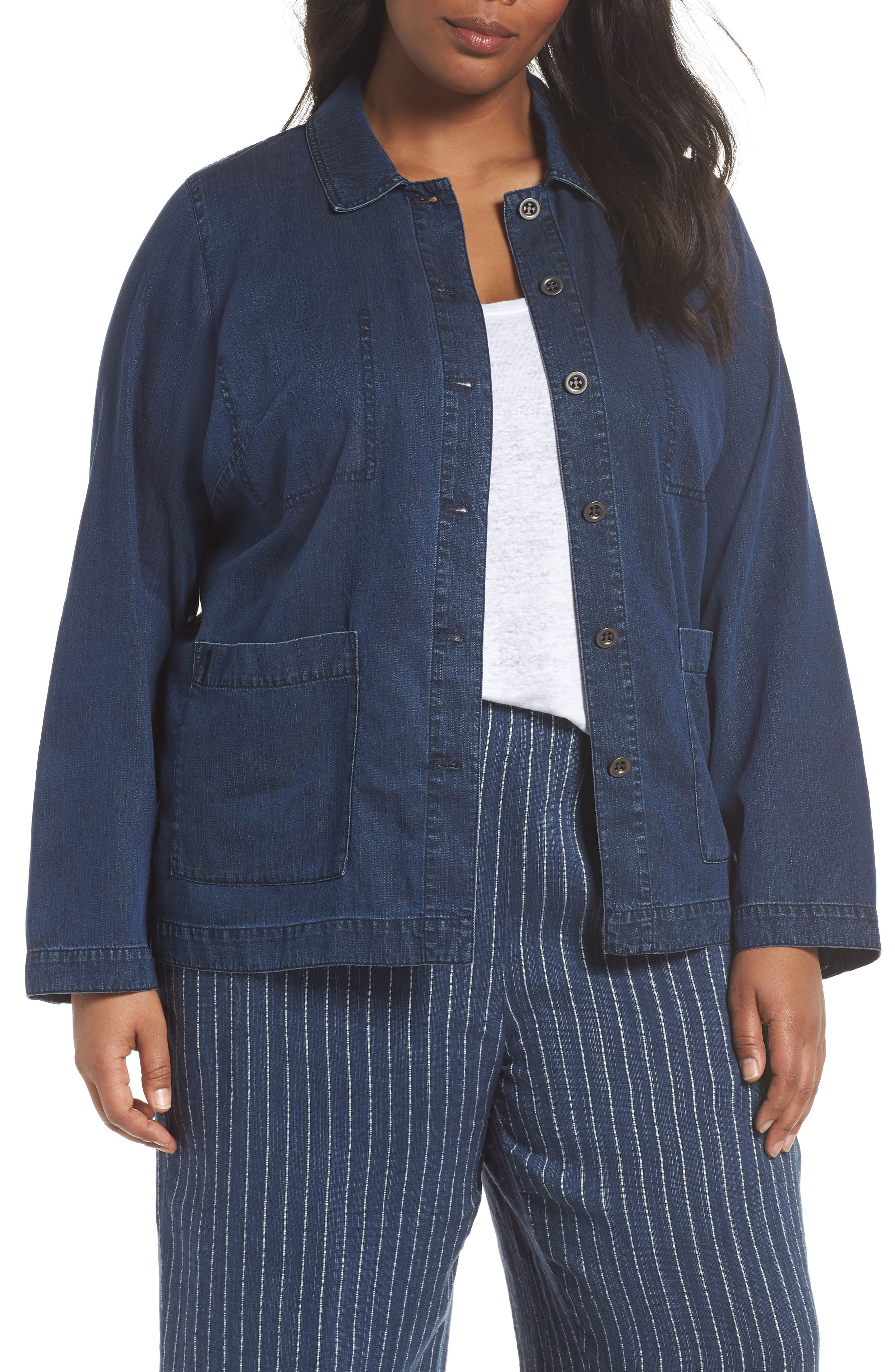 Classic Collar Cotton Blend Jacket,                             Main thumbnail 1, color,                             Midnight