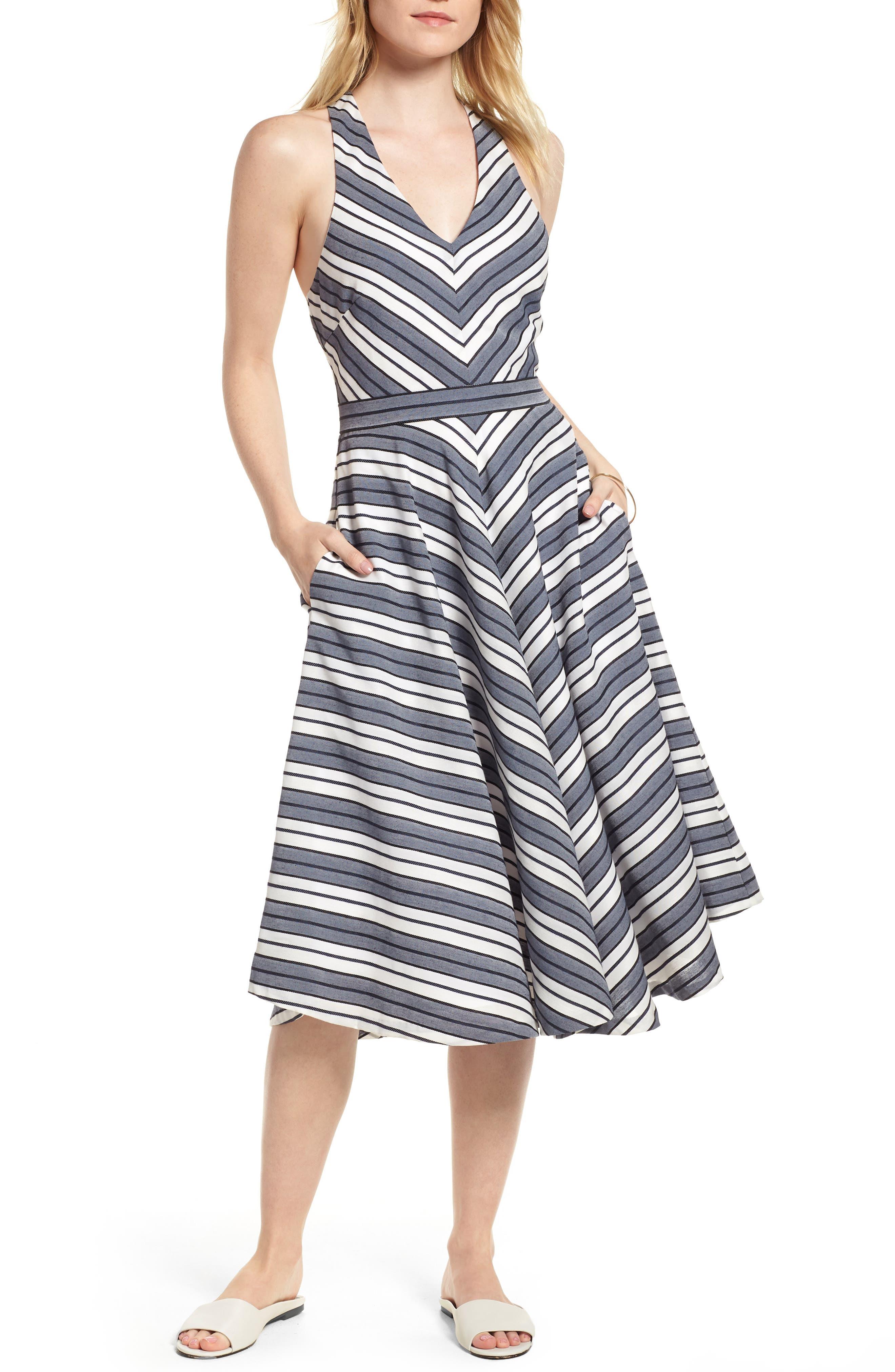 Stripe V-Neck Dress,                             Main thumbnail 1, color,                             Navy Stripe