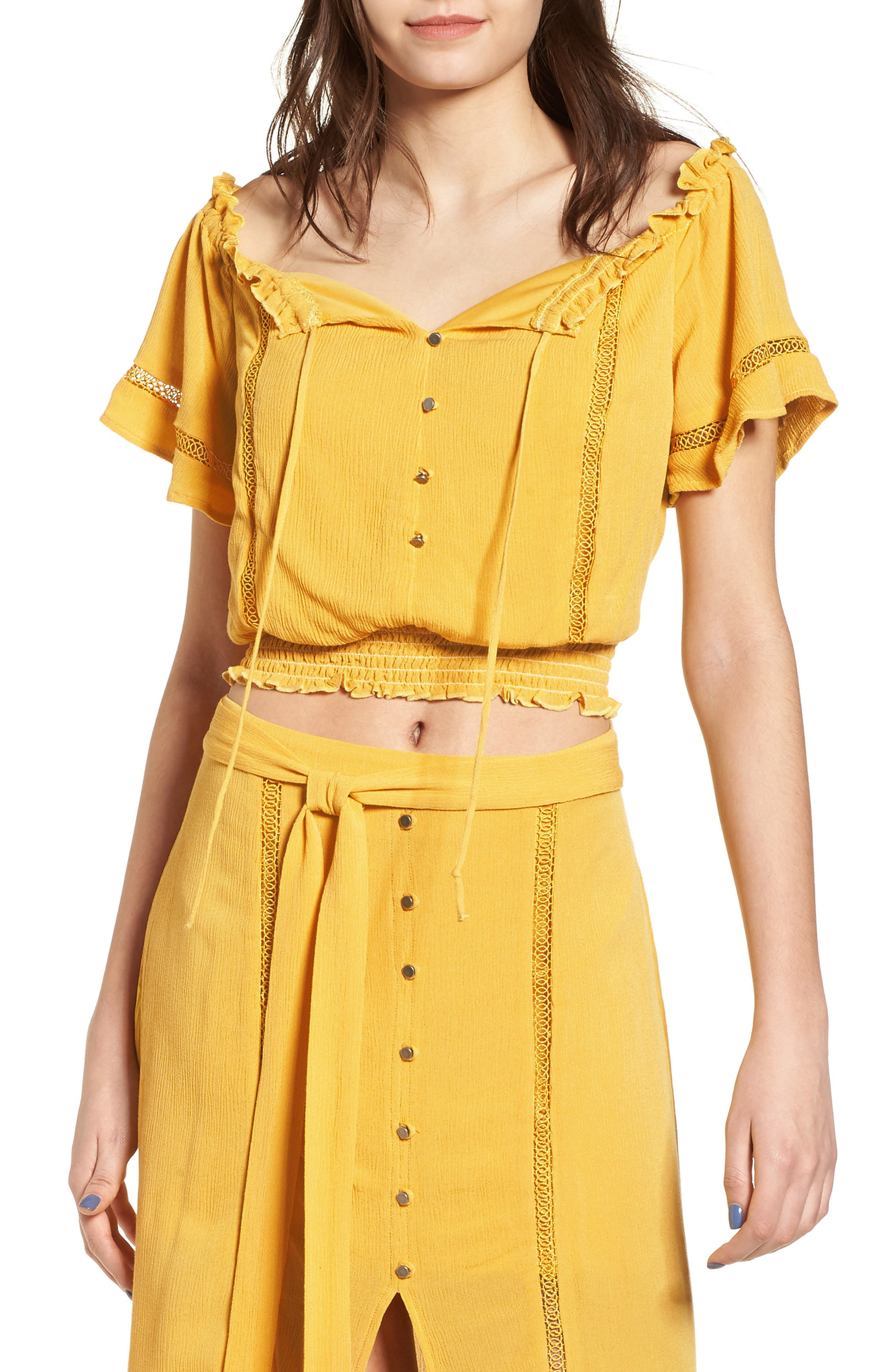 Off the Shoulder Crop Top,                             Main thumbnail 1, color,                             Yellow Sulphur
