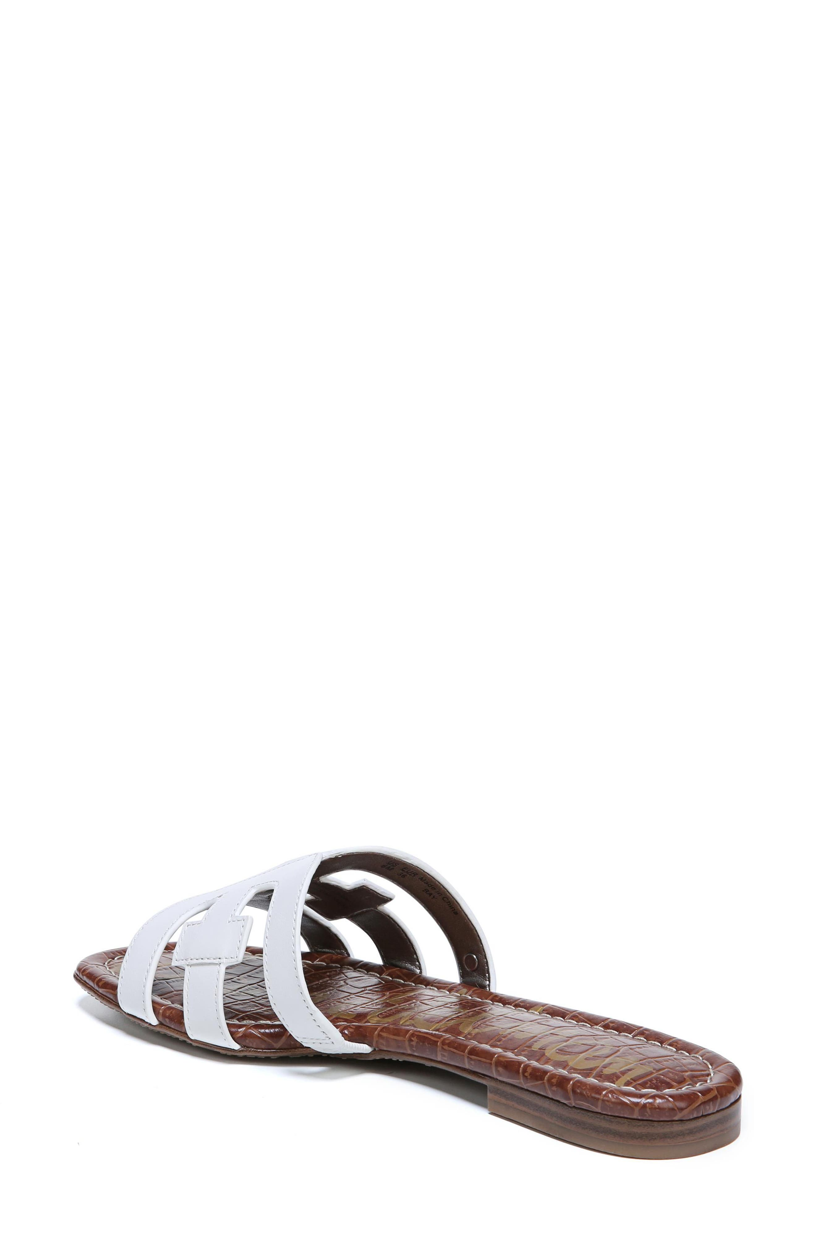 Bay Cutout Slide Sandal,                             Alternate thumbnail 2, color,                             Bright White Leather